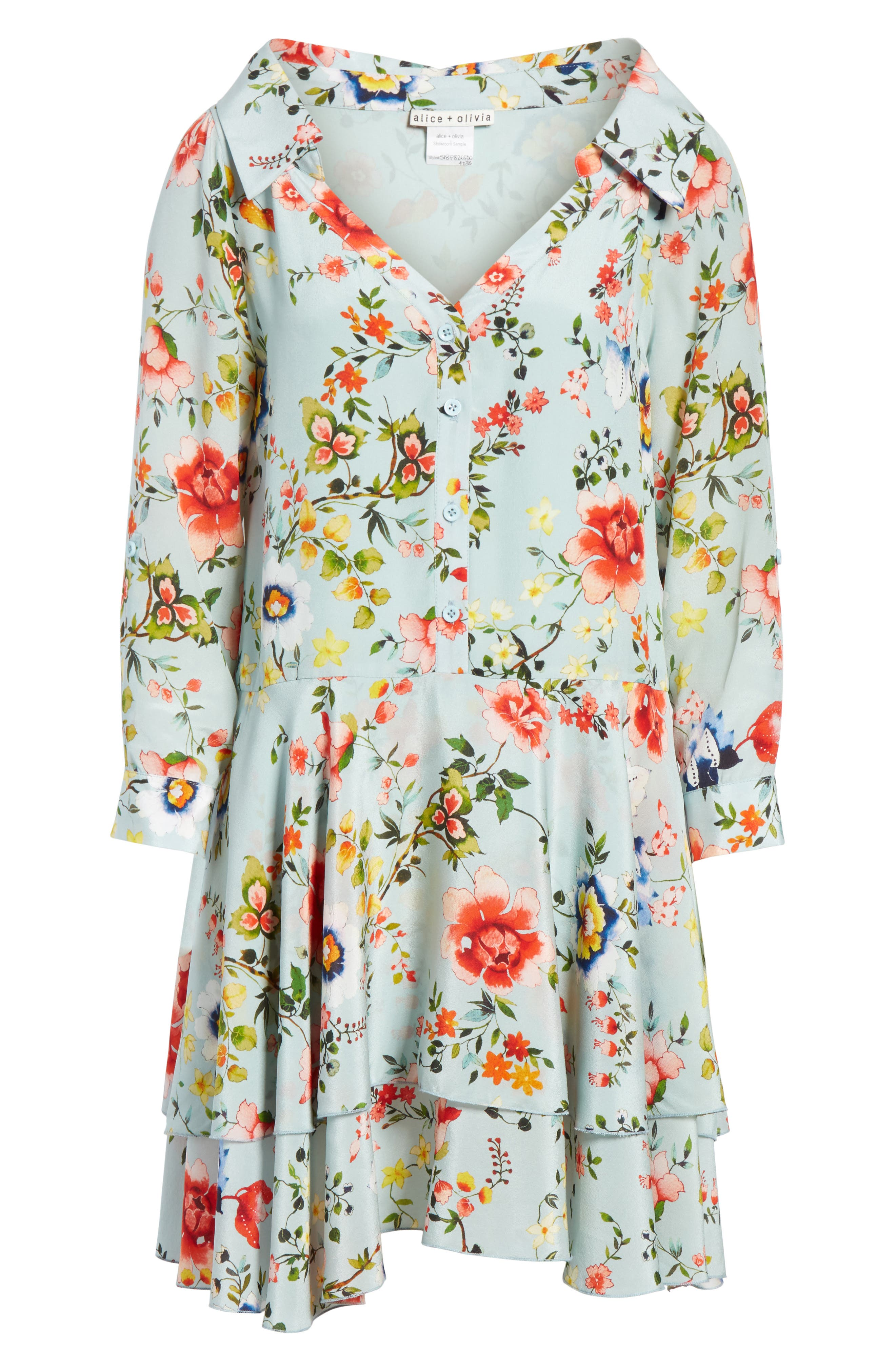 Moore Floral Silk Tunic Dress,                             Alternate thumbnail 6, color,                             474