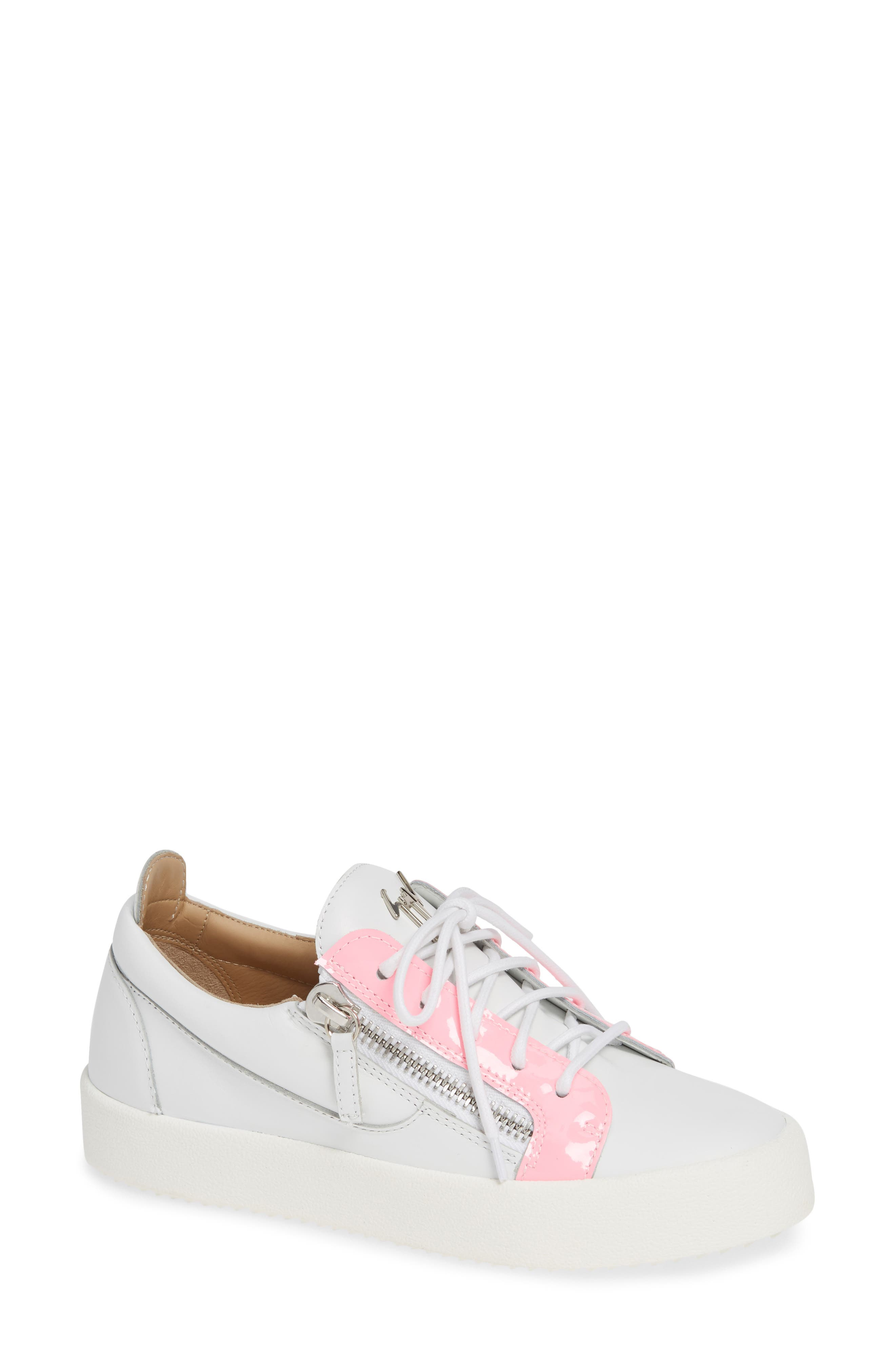 Low Top Sneaker,                             Main thumbnail 1, color,                             WHITE/ FUCHSIA