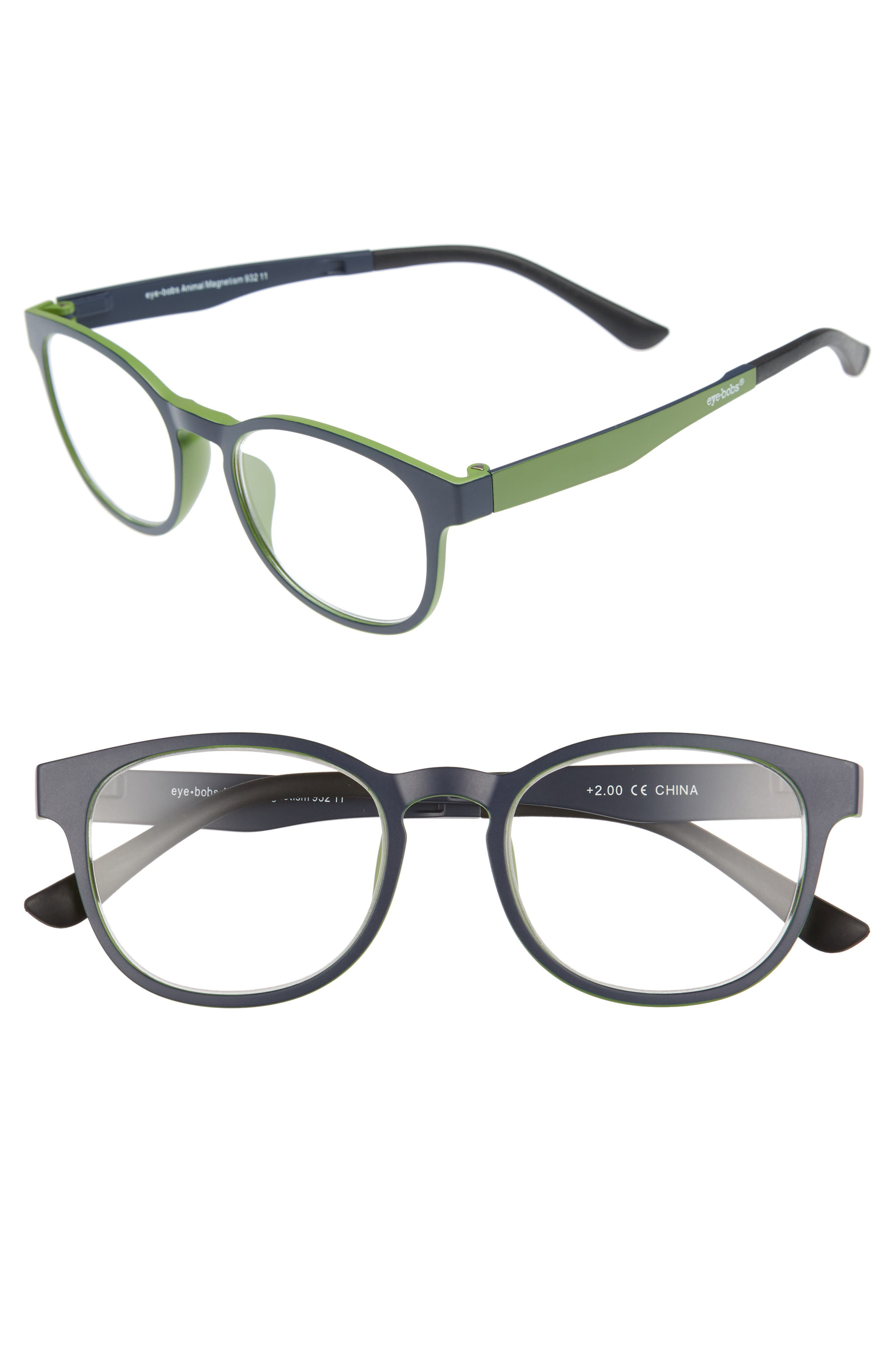 Animal Magnetism 50mm Reading Glasses with Sun Clip,                             Main thumbnail 1, color,                             BLUE WITH GREEN
