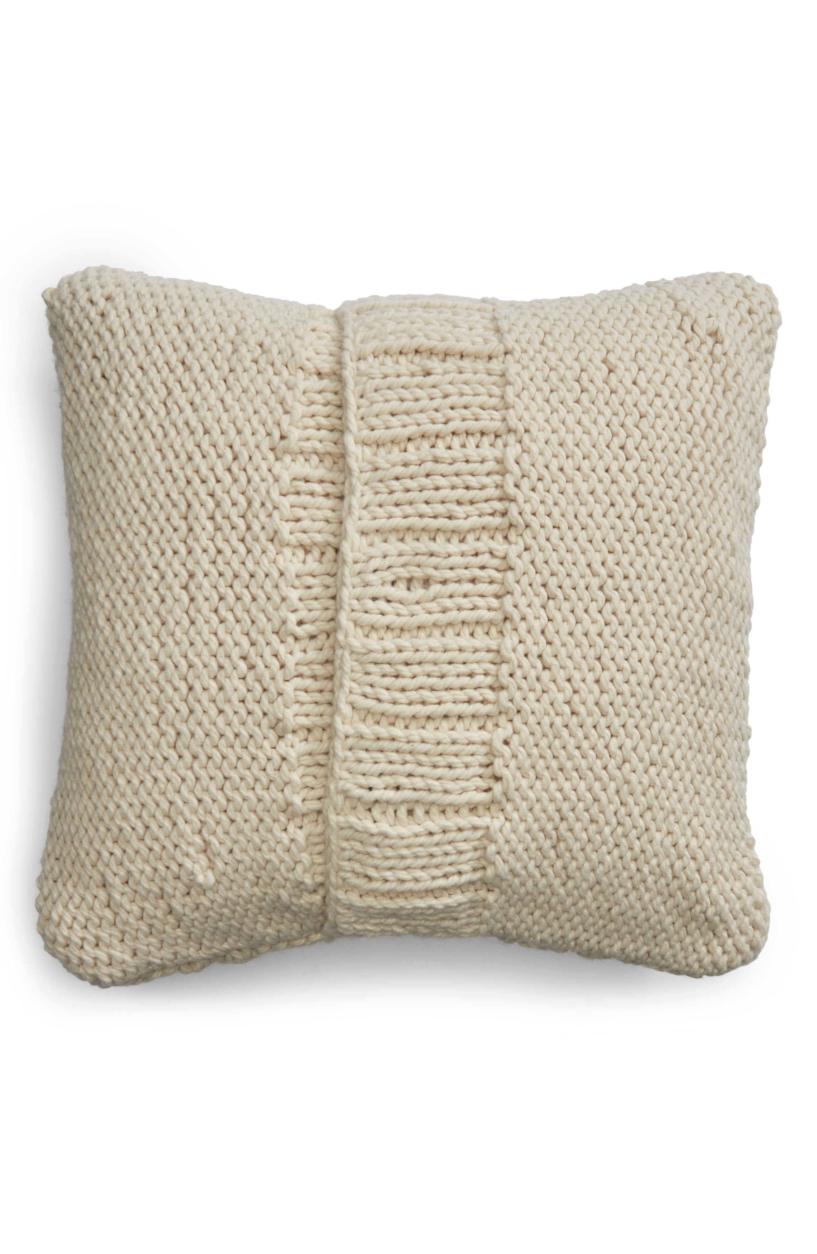 Chunky Cable Knit Accent Pillow,                             Alternate thumbnail 2, color,                             IVORY DOVE
