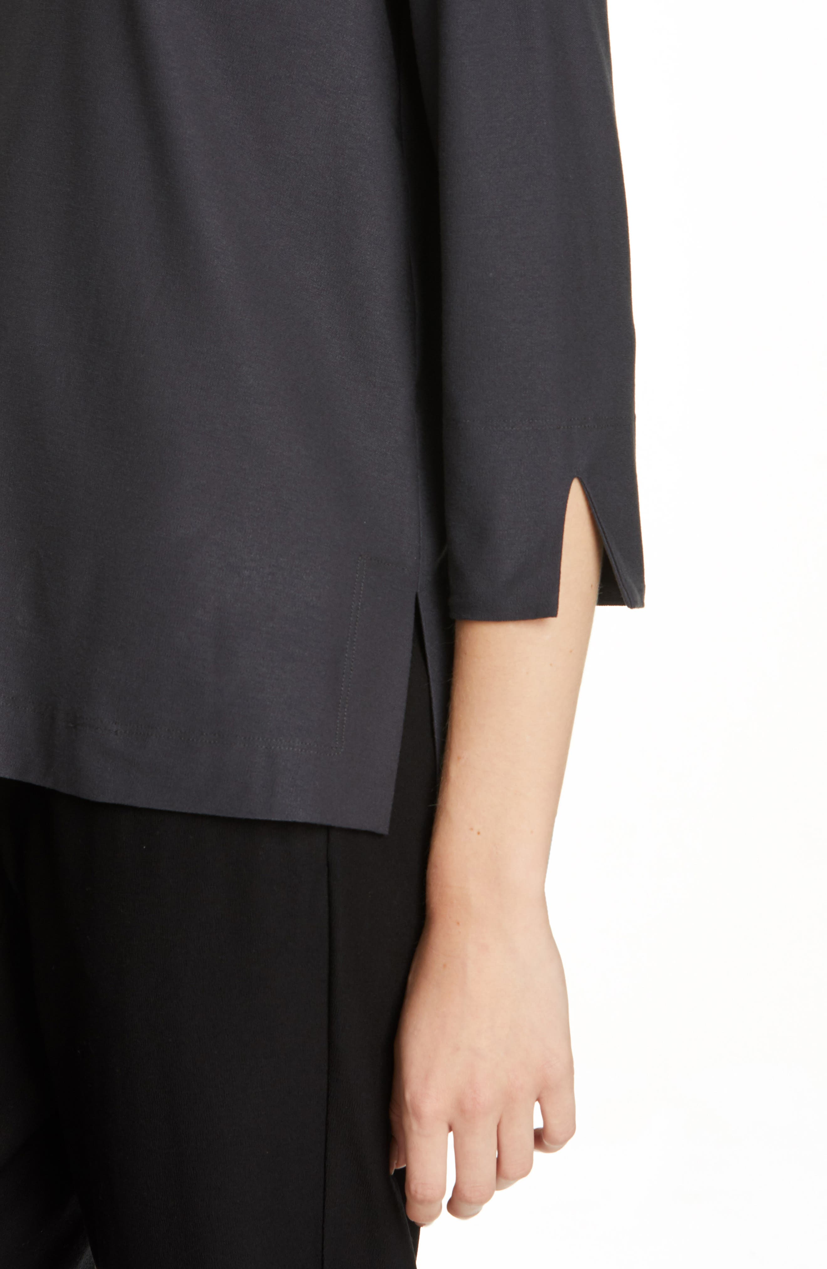 EILEEN FISHER,                             Boxy Jersey Top,                             Alternate thumbnail 4, color,                             GRAPHITE