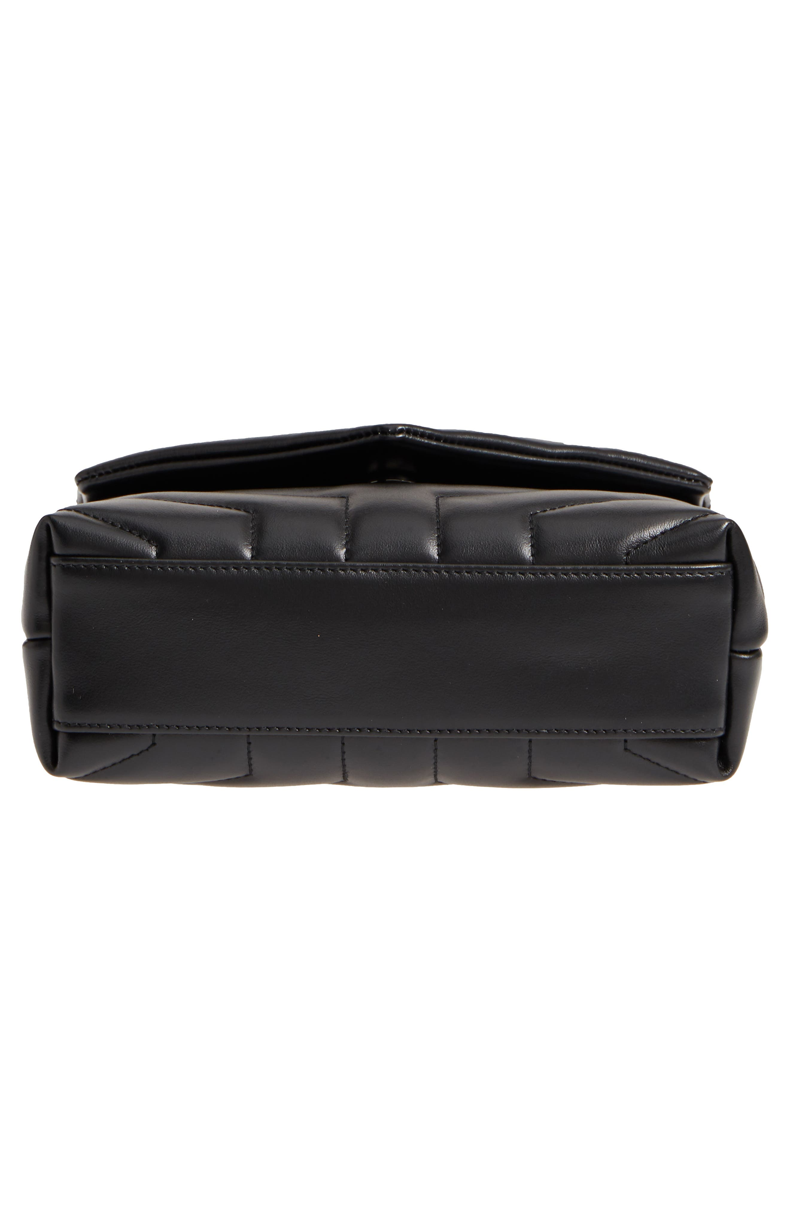 Toy Loulou Leather Crossbody Bag,                             Alternate thumbnail 6, color,                             NERO