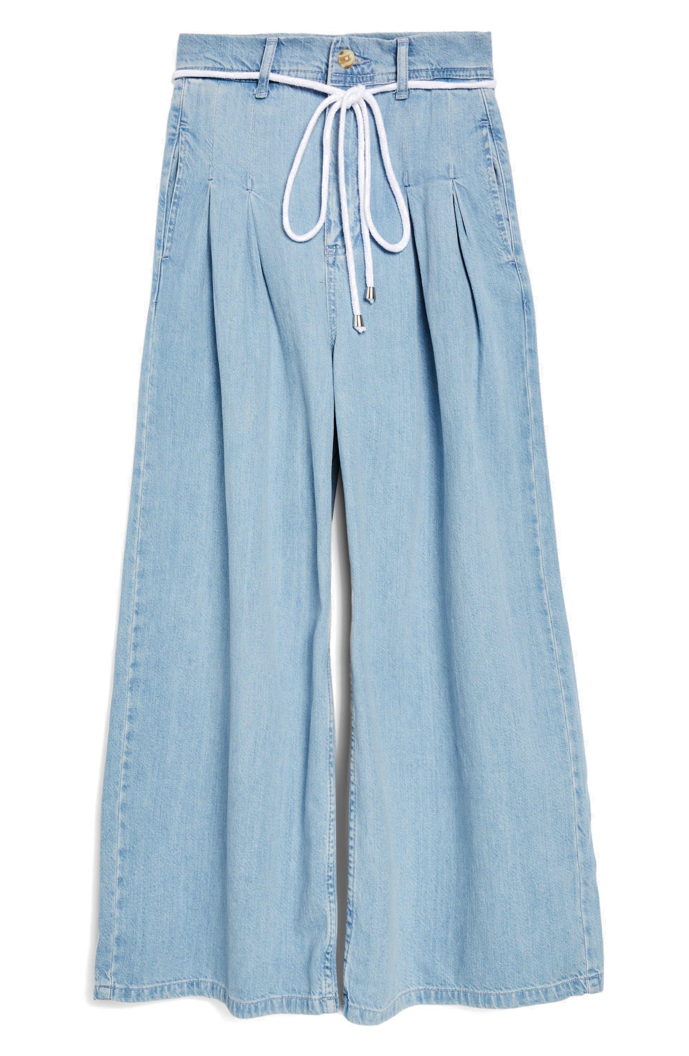 MOTO Pleat Tie Crop Wide-Leg Jeans,                             Alternate thumbnail 3, color,
