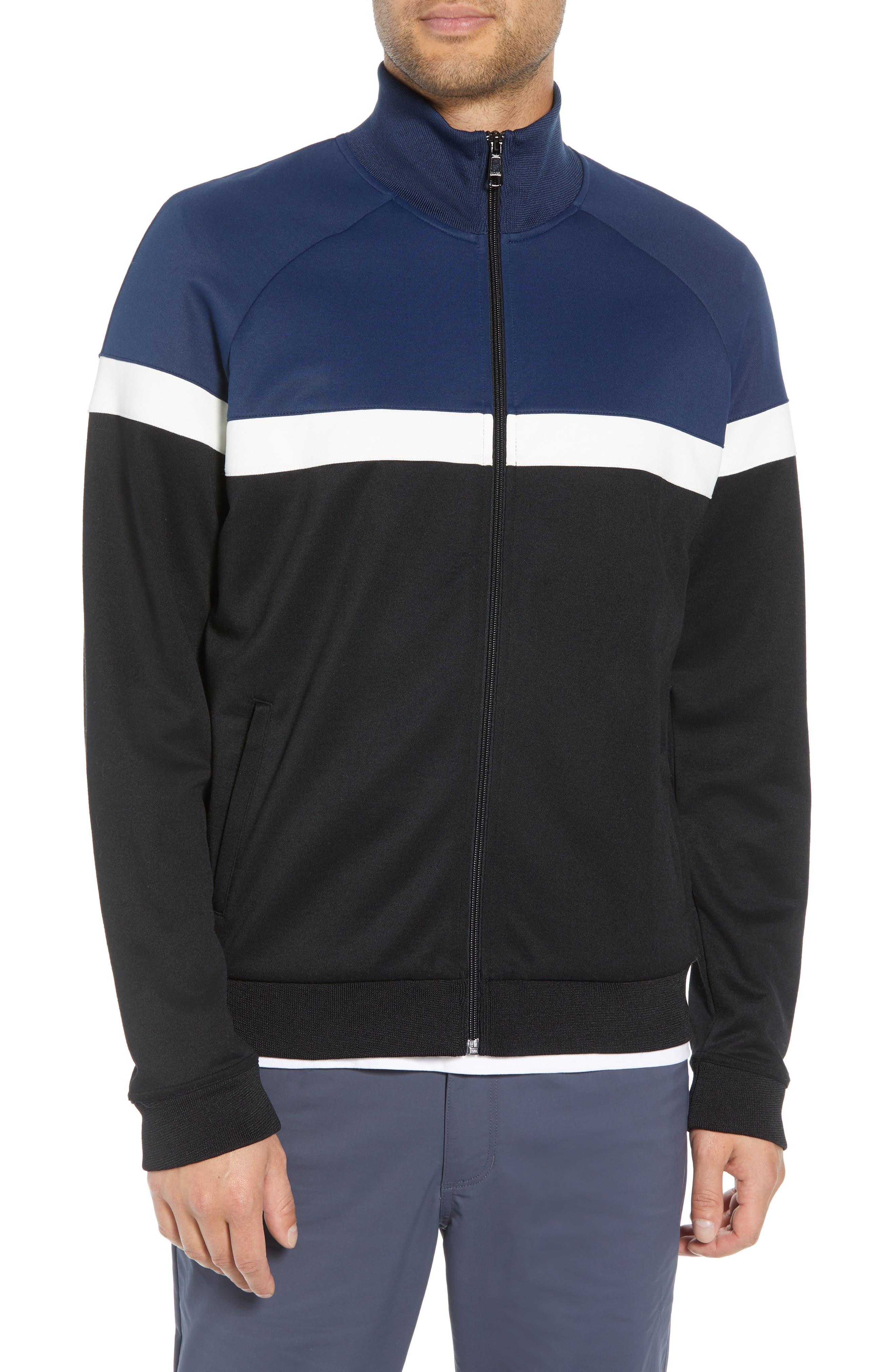 Classic Fit Colorblock Track Jacket,                             Alternate thumbnail 4, color,                             BLACK/ PRUSSIAN BLUE