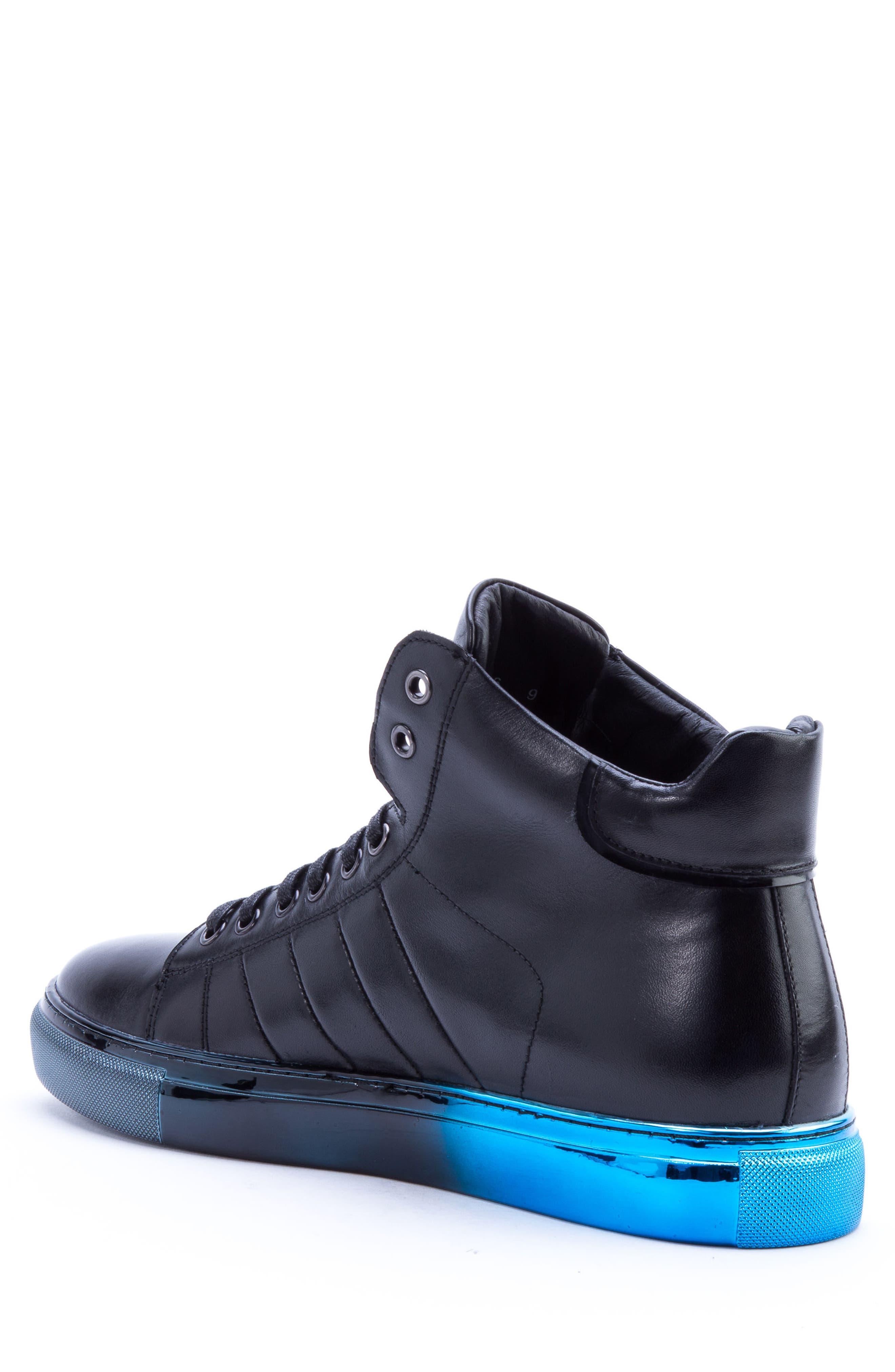 Badgley Mischka Hunter High Top Sneaker,                             Alternate thumbnail 2, color,                             NAVY LEATHER