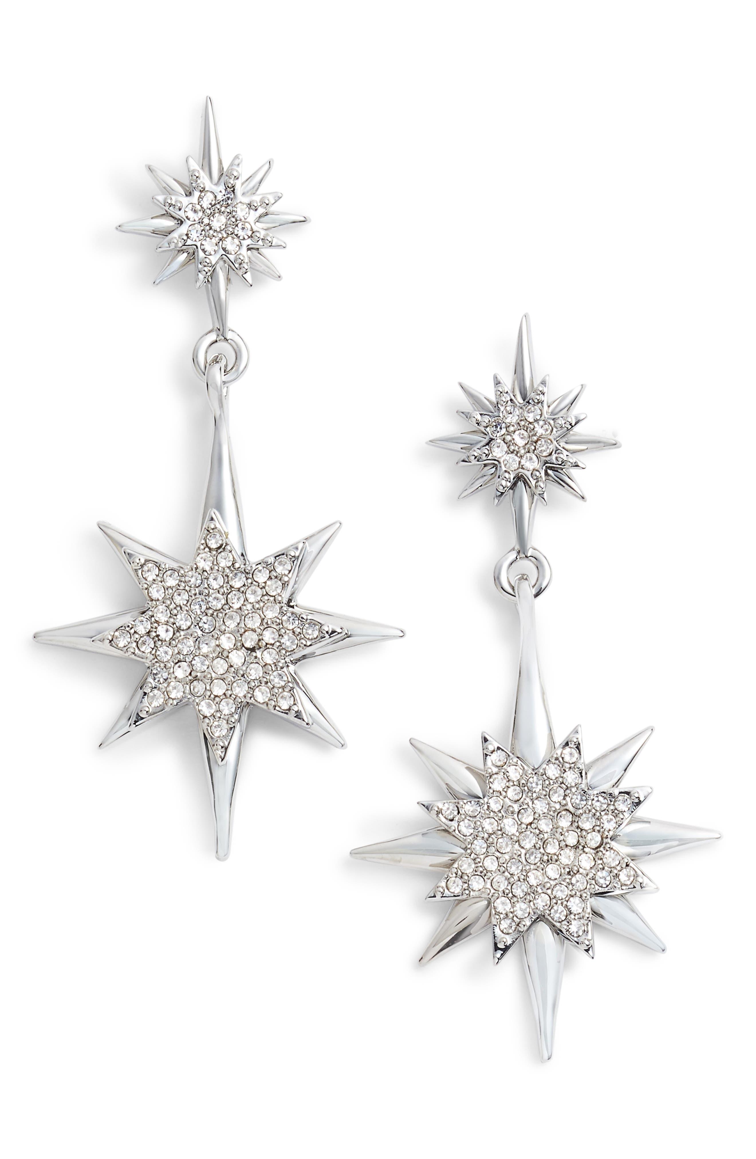 Crystal Starburst Drop Earrings,                             Main thumbnail 1, color,                             040