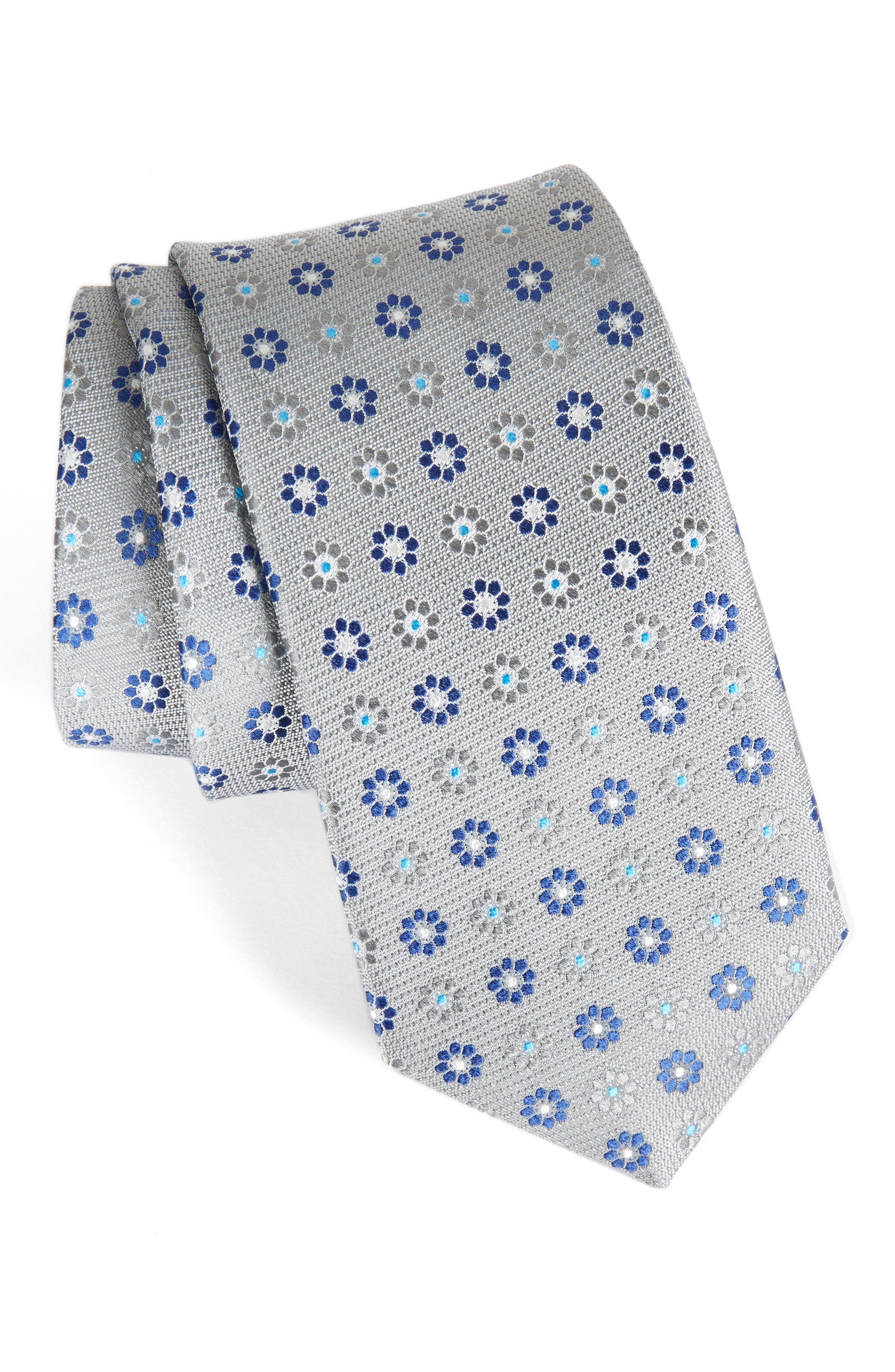 John W. Nordstrom Floral Silk Tie,                             Main thumbnail 2, color,