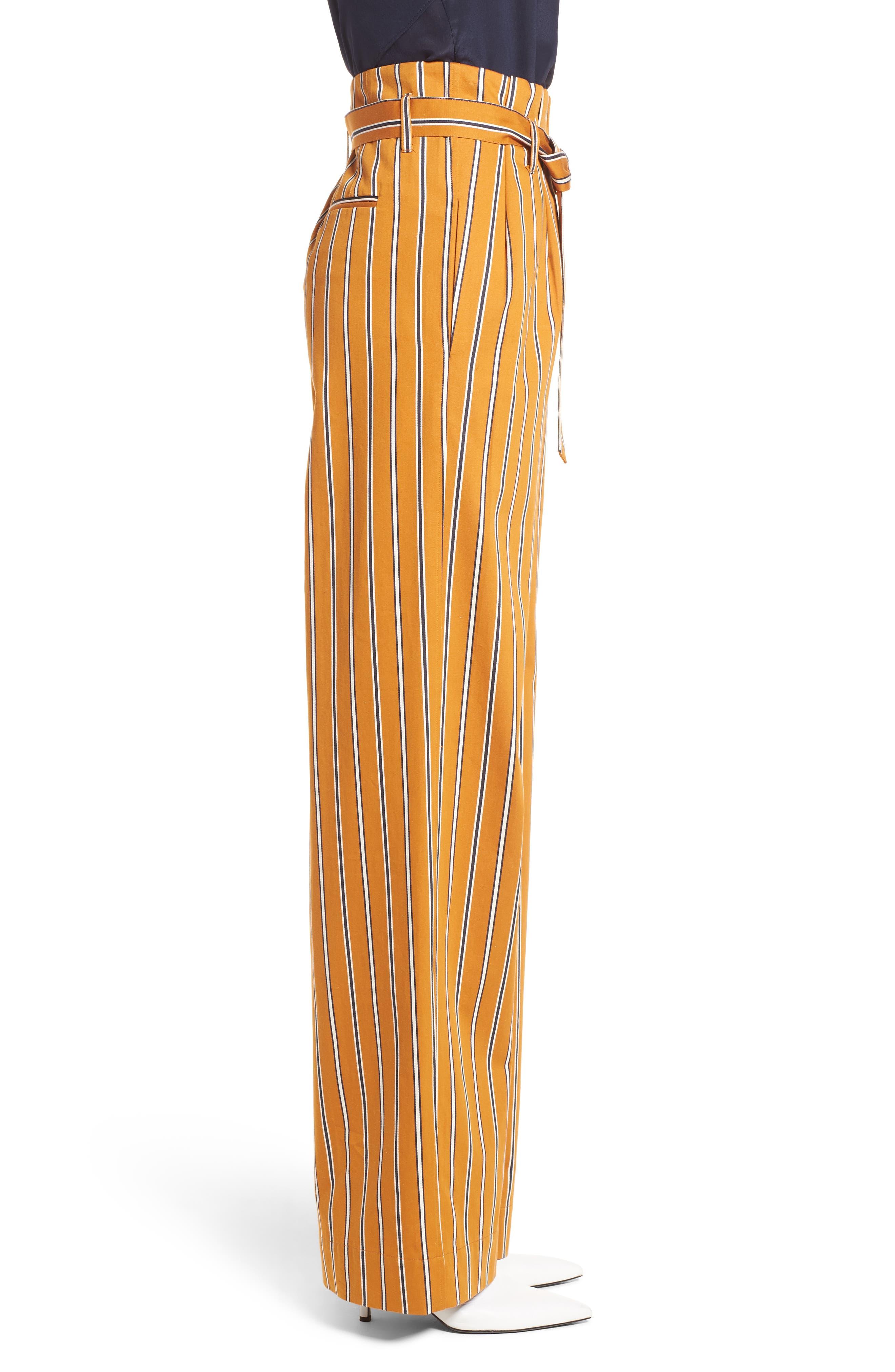 High Waist Wide Leg Stripe Pants,                             Alternate thumbnail 3, color,                             866