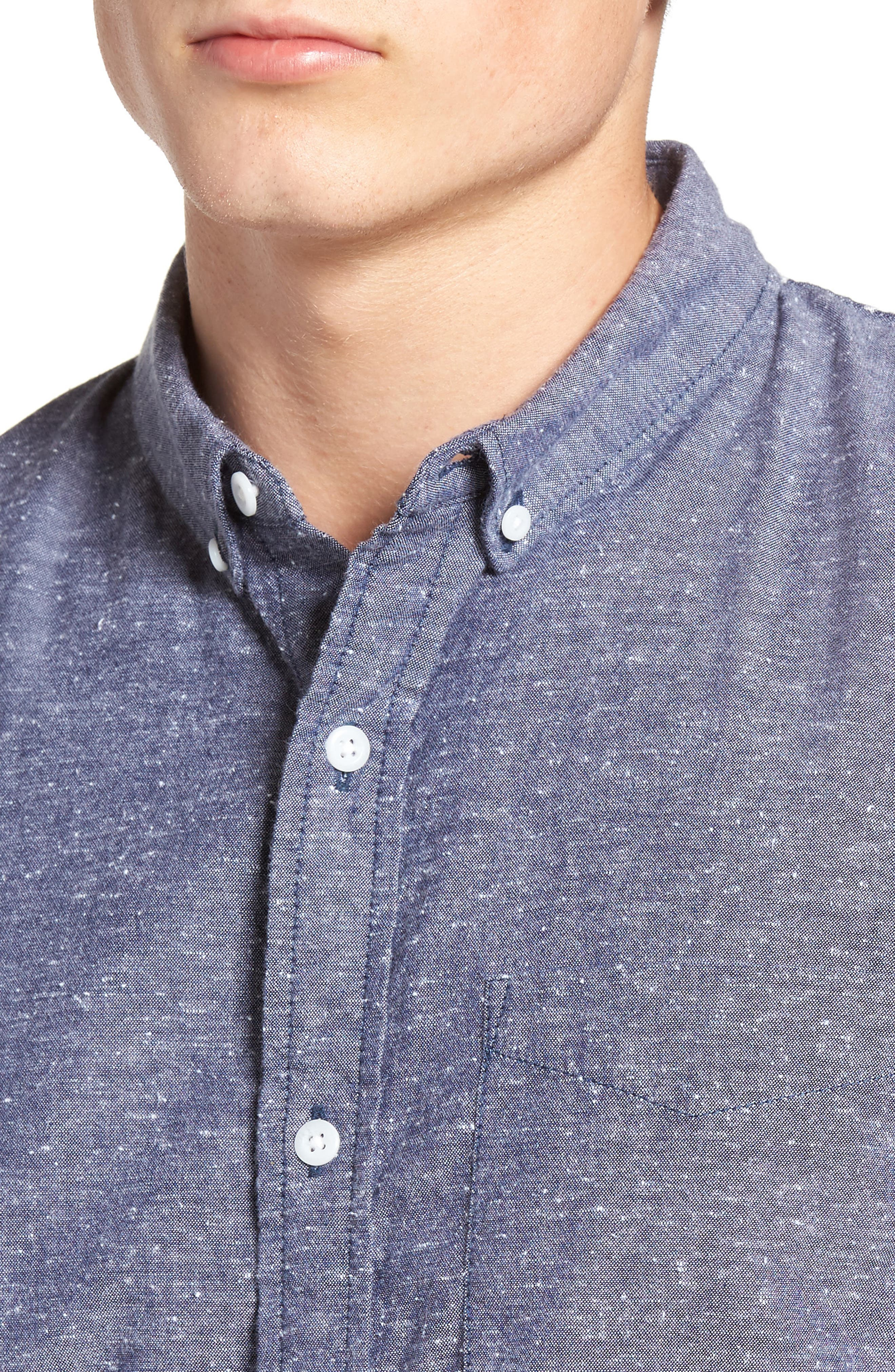 Placed Stripe Chambray Shirt,                             Alternate thumbnail 4, color,                             410