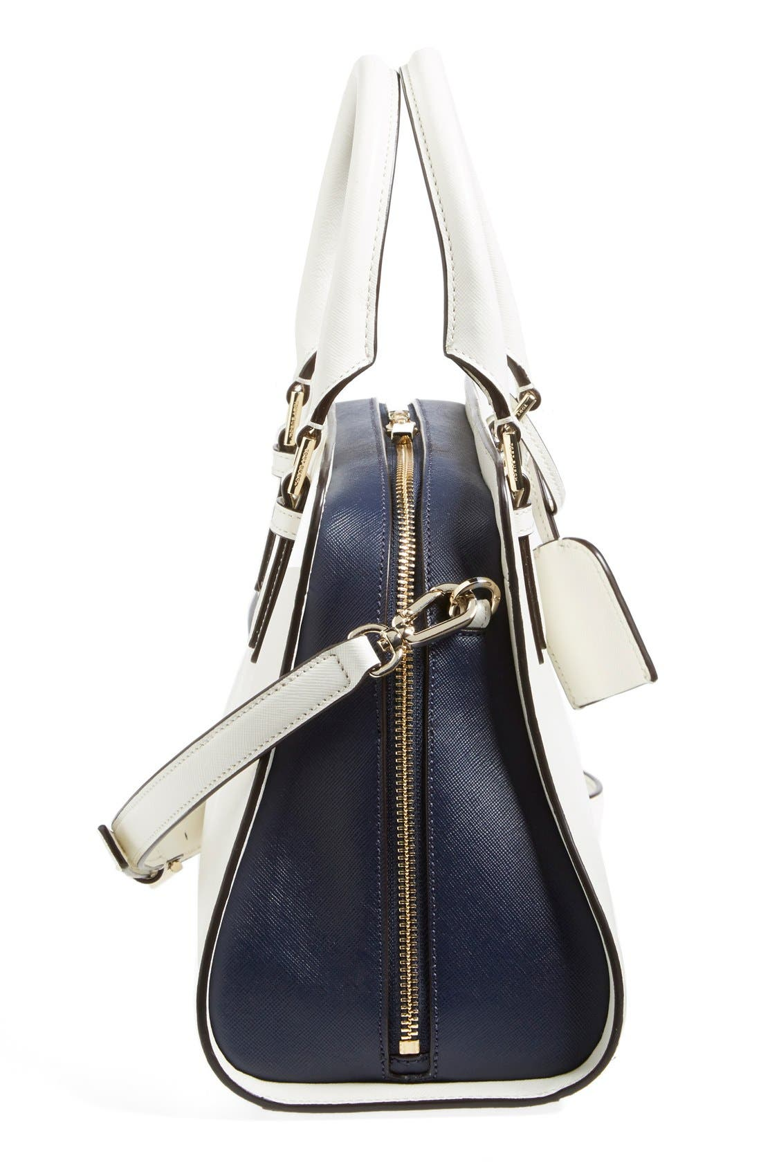 'Robinson - Curved' Leather Satchel,                             Alternate thumbnail 3, color,                             100