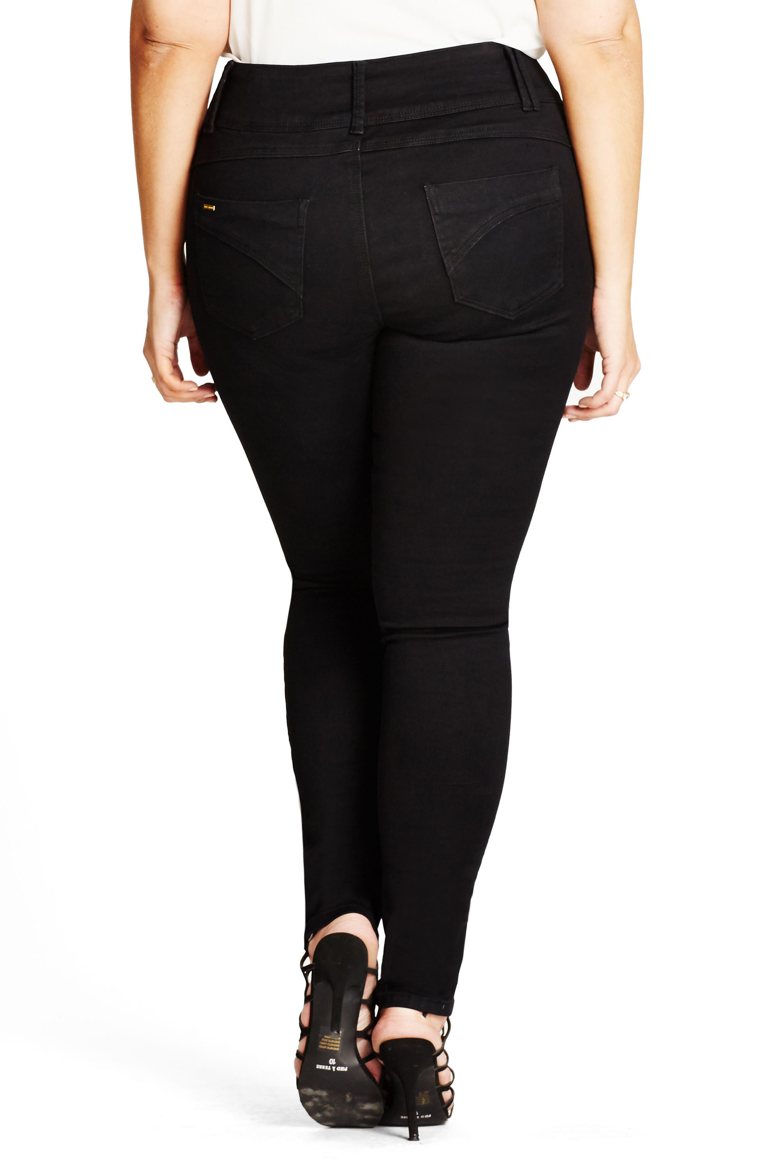 Asha High Waist Skinny Jeans,                             Alternate thumbnail 2, color,                             BLACK