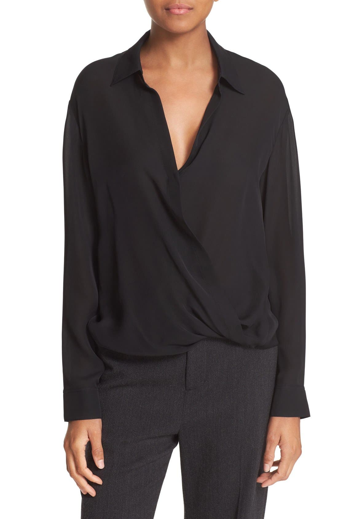Faux Wrap Blouse,                         Main,                         color, 001
