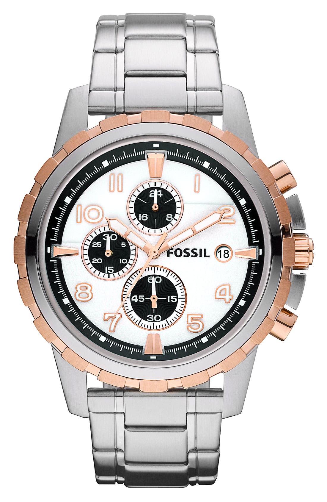Notched Bezel Chronograph Bracelet Watch, 45mm,                             Main thumbnail 2, color,