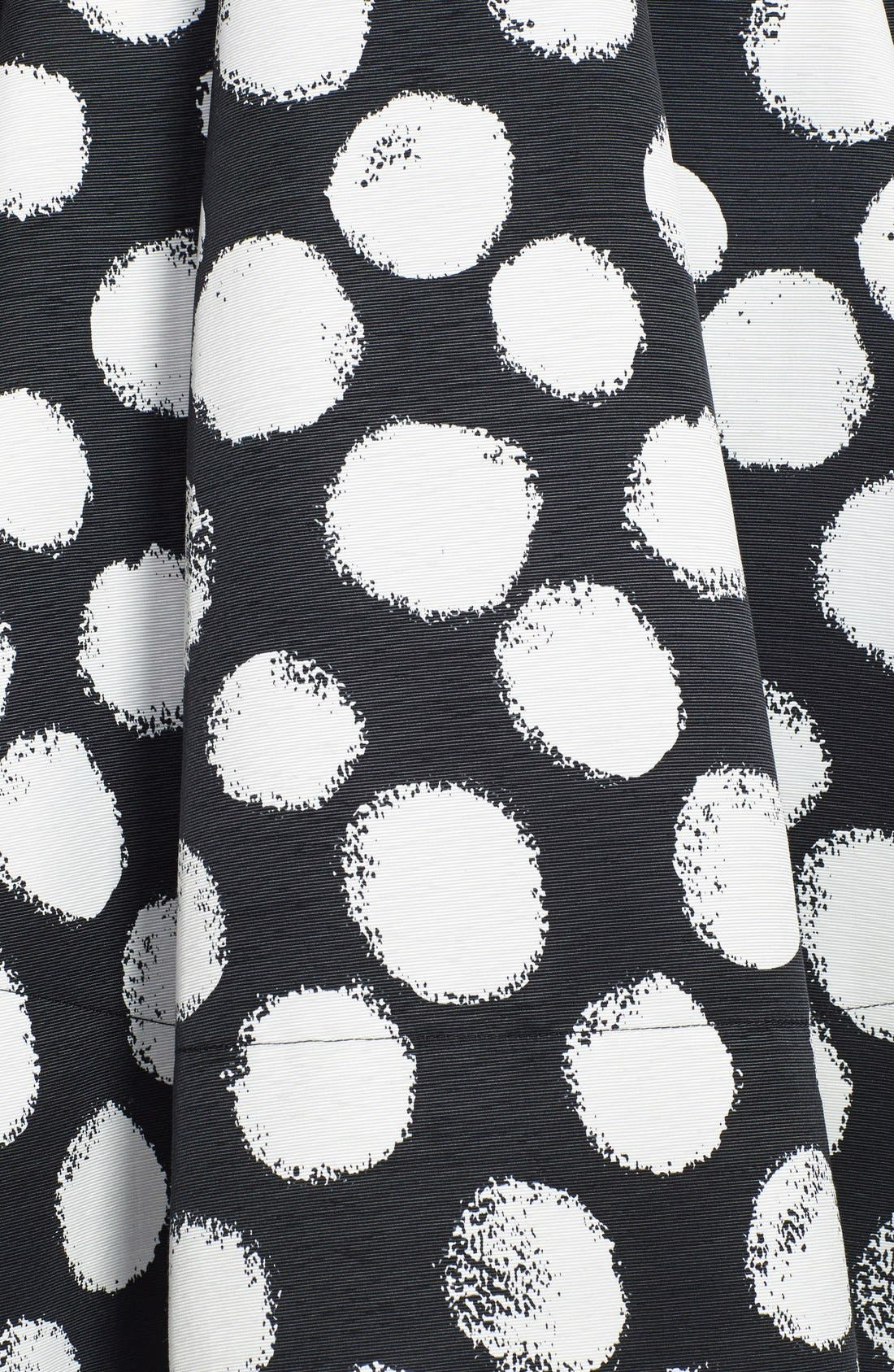 ELIZA J,                             Polka Dot Faille Fit & Flare Dress,                             Alternate thumbnail 3, color,                             001