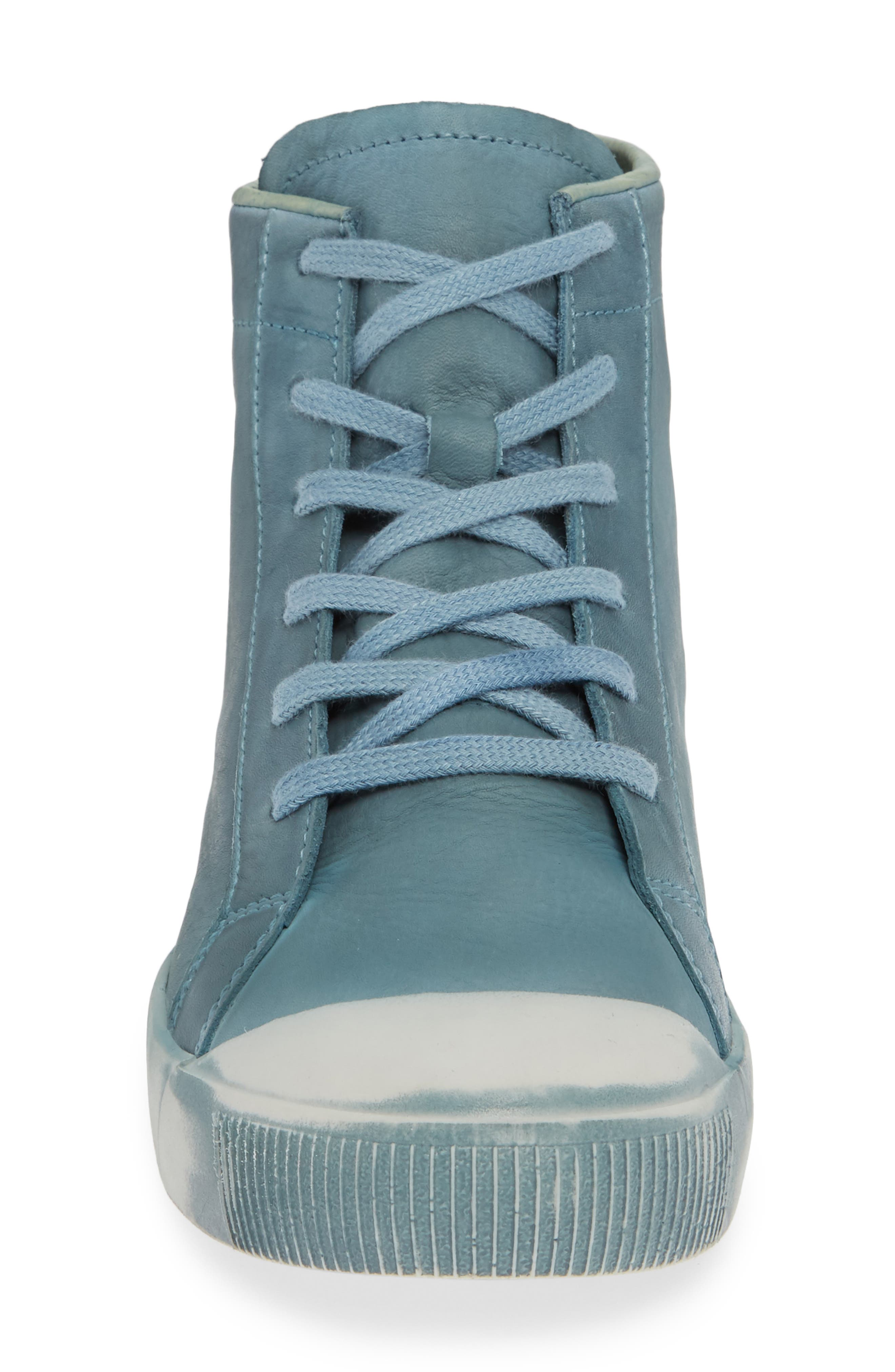 Kip High Top Sneaker,                             Alternate thumbnail 4, color,                             NUDE BLUE WASHED LEATHER