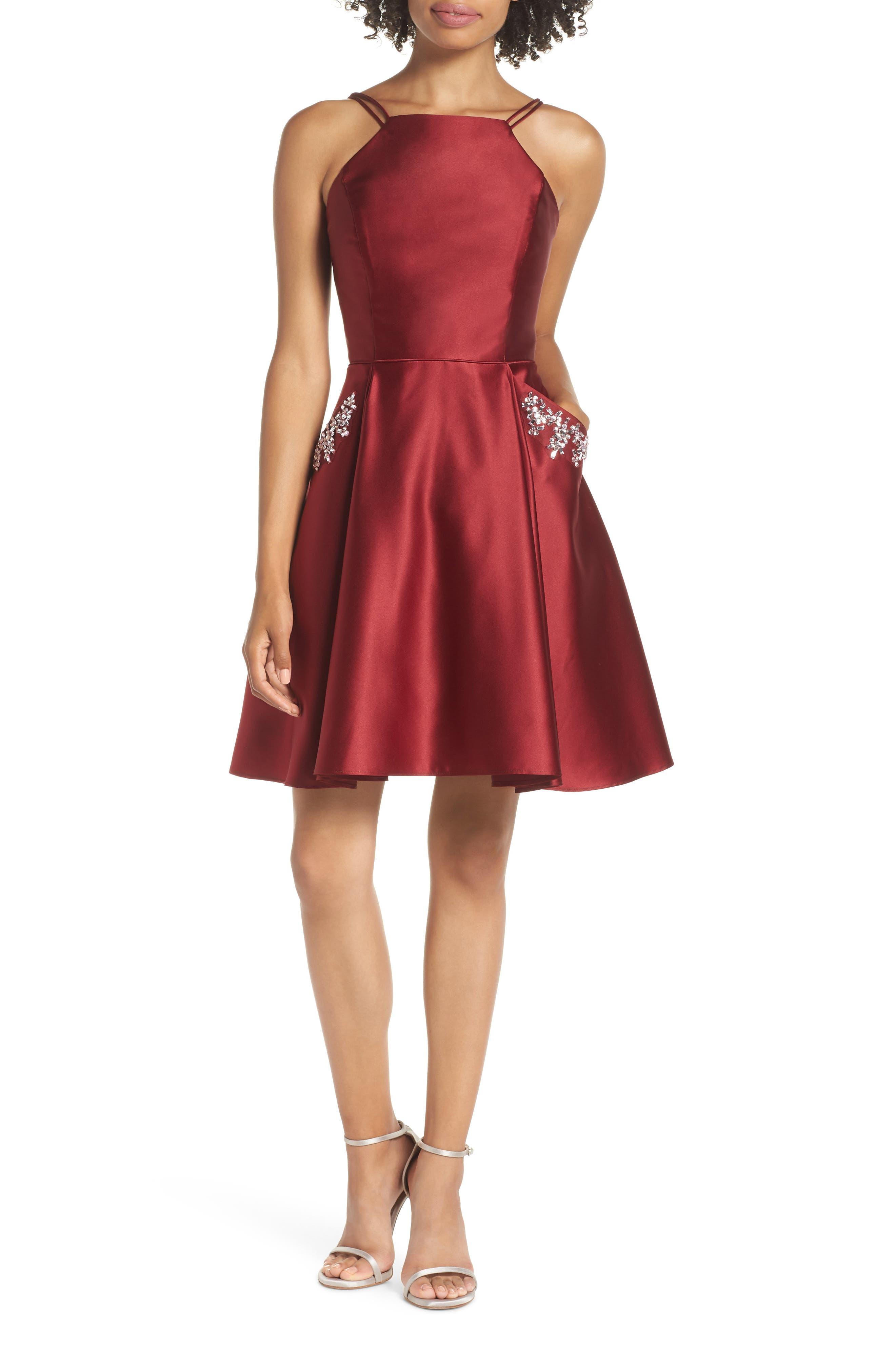 Satin Halter Neck Party Dress,                         Main,                         color, BURGUNDY