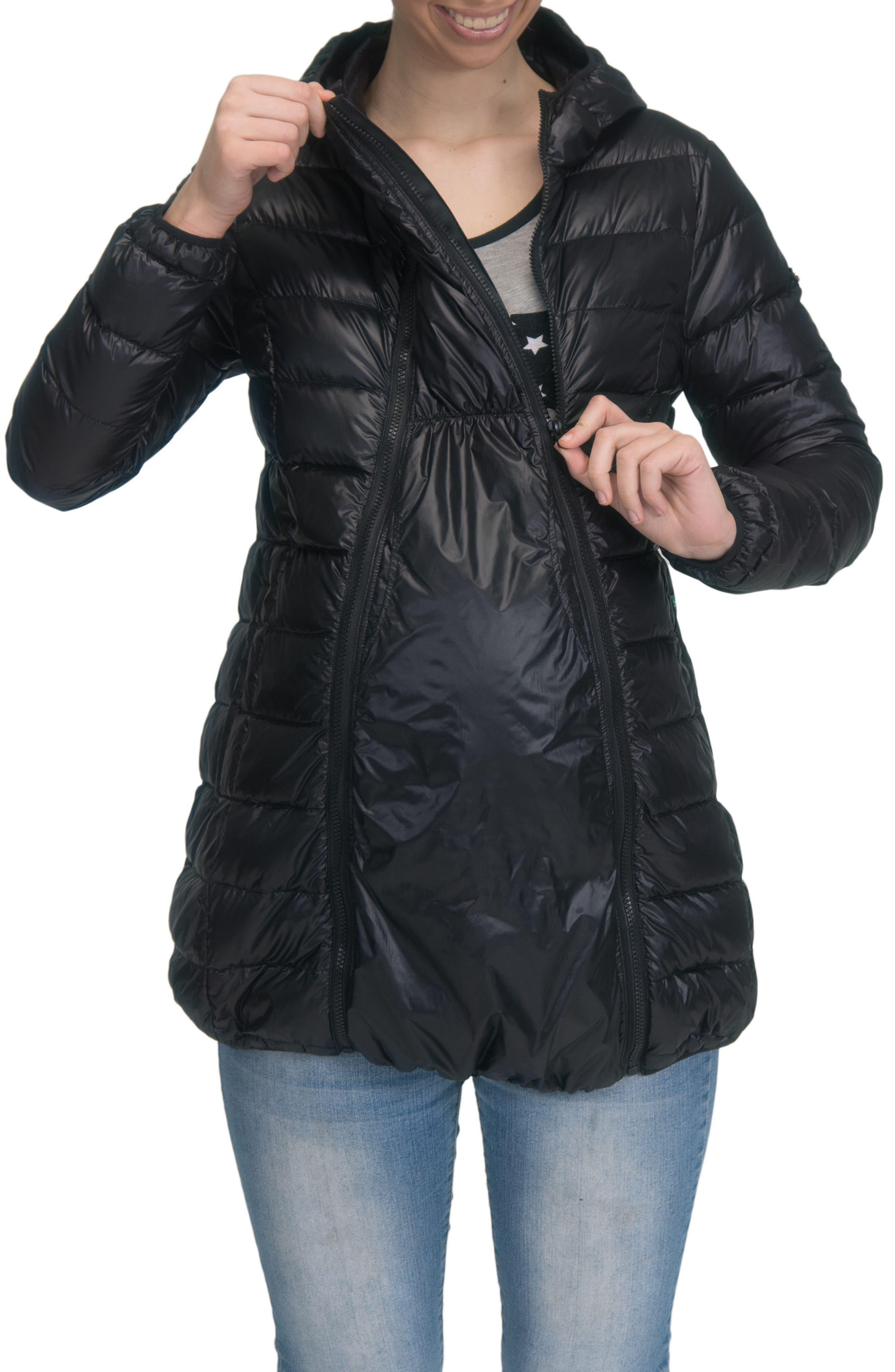Lightweight Down 3-in-1 Maternity/Nursing Jacket,                             Alternate thumbnail 5, color,                             BLACK