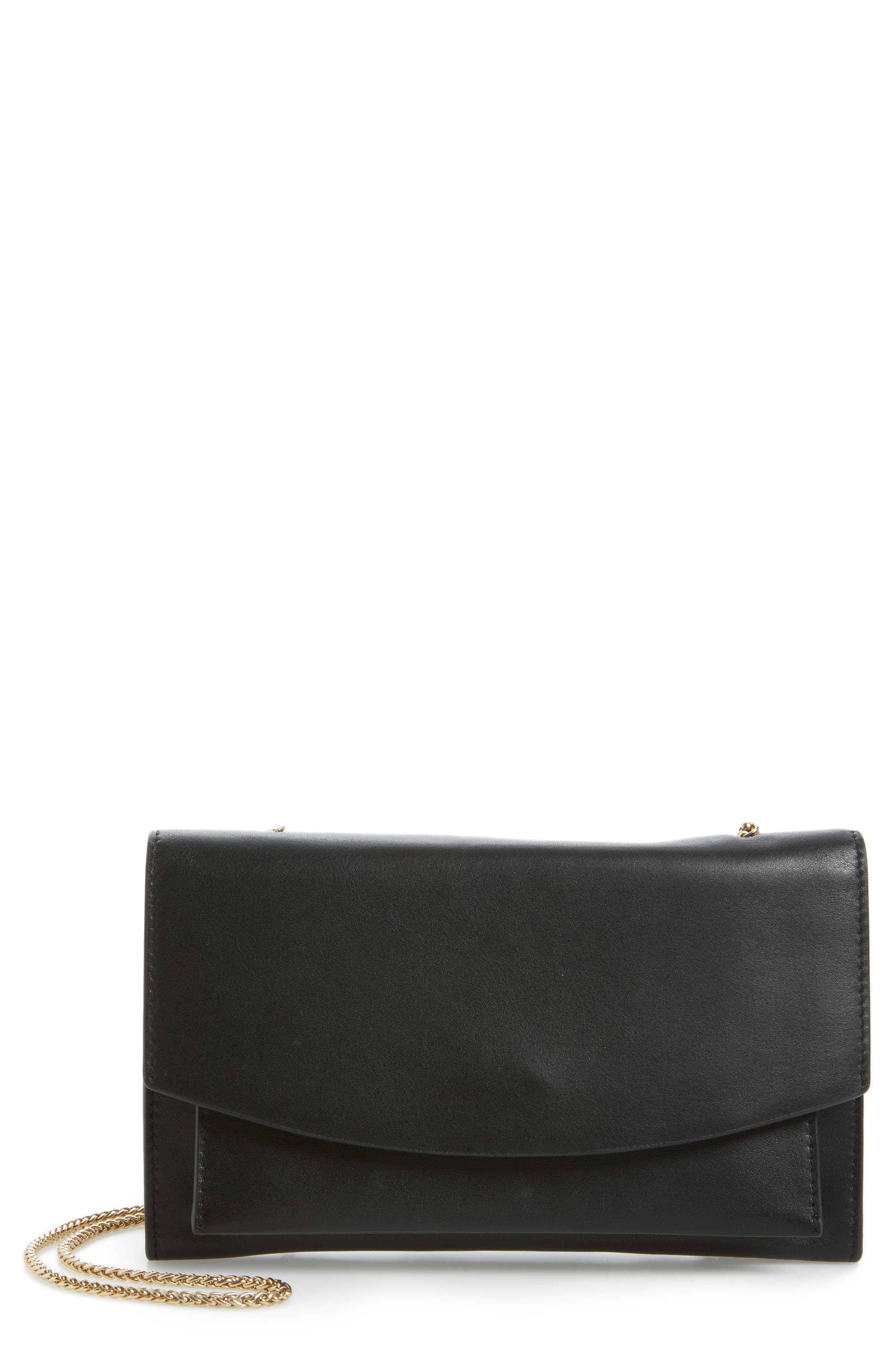 Eryka Leather Envelope Clutch with Detachable Chain,                             Main thumbnail 1, color,                             001