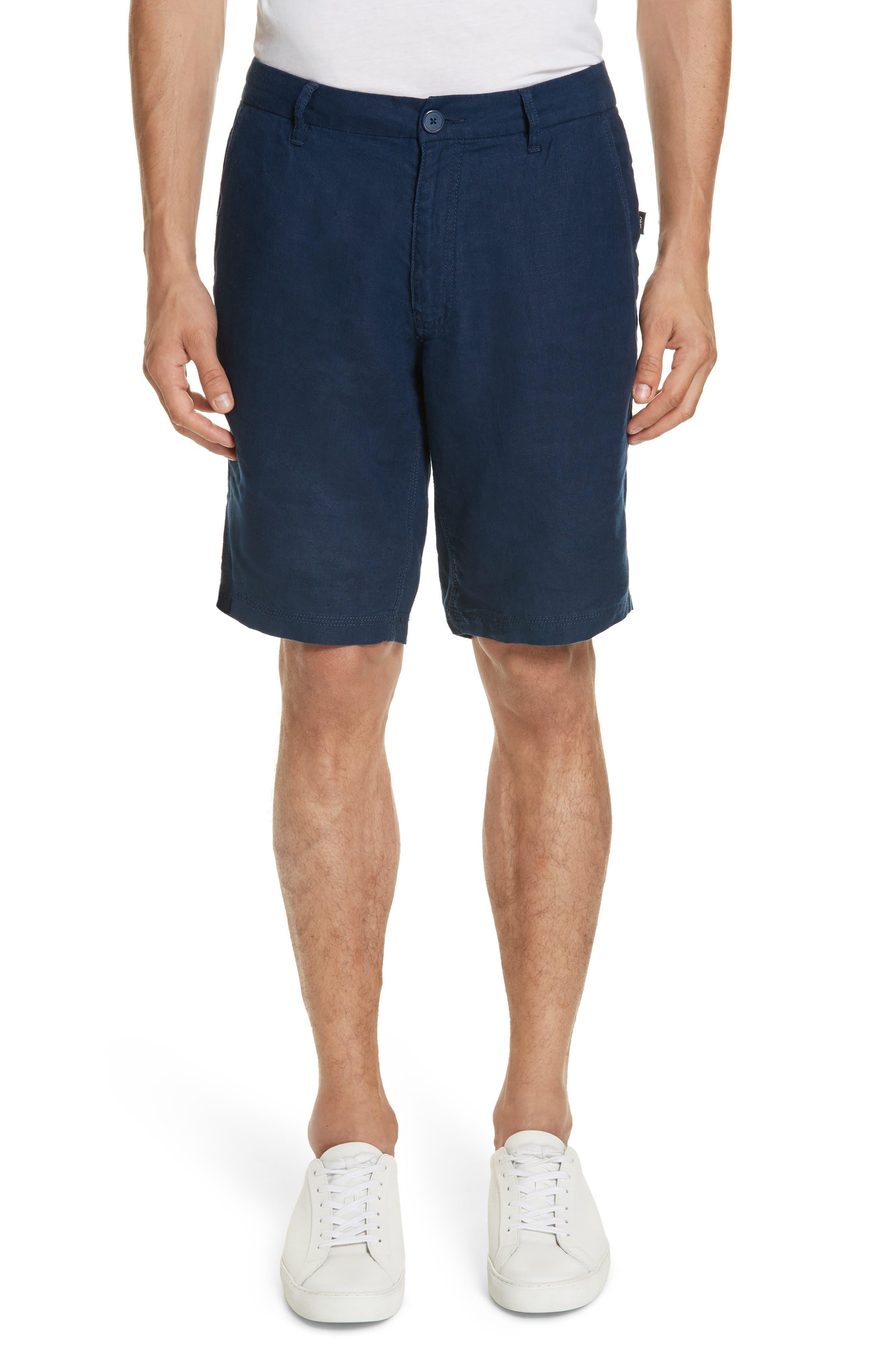 Austin Linen Shorts,                         Main,                         color, DEEP NAVY