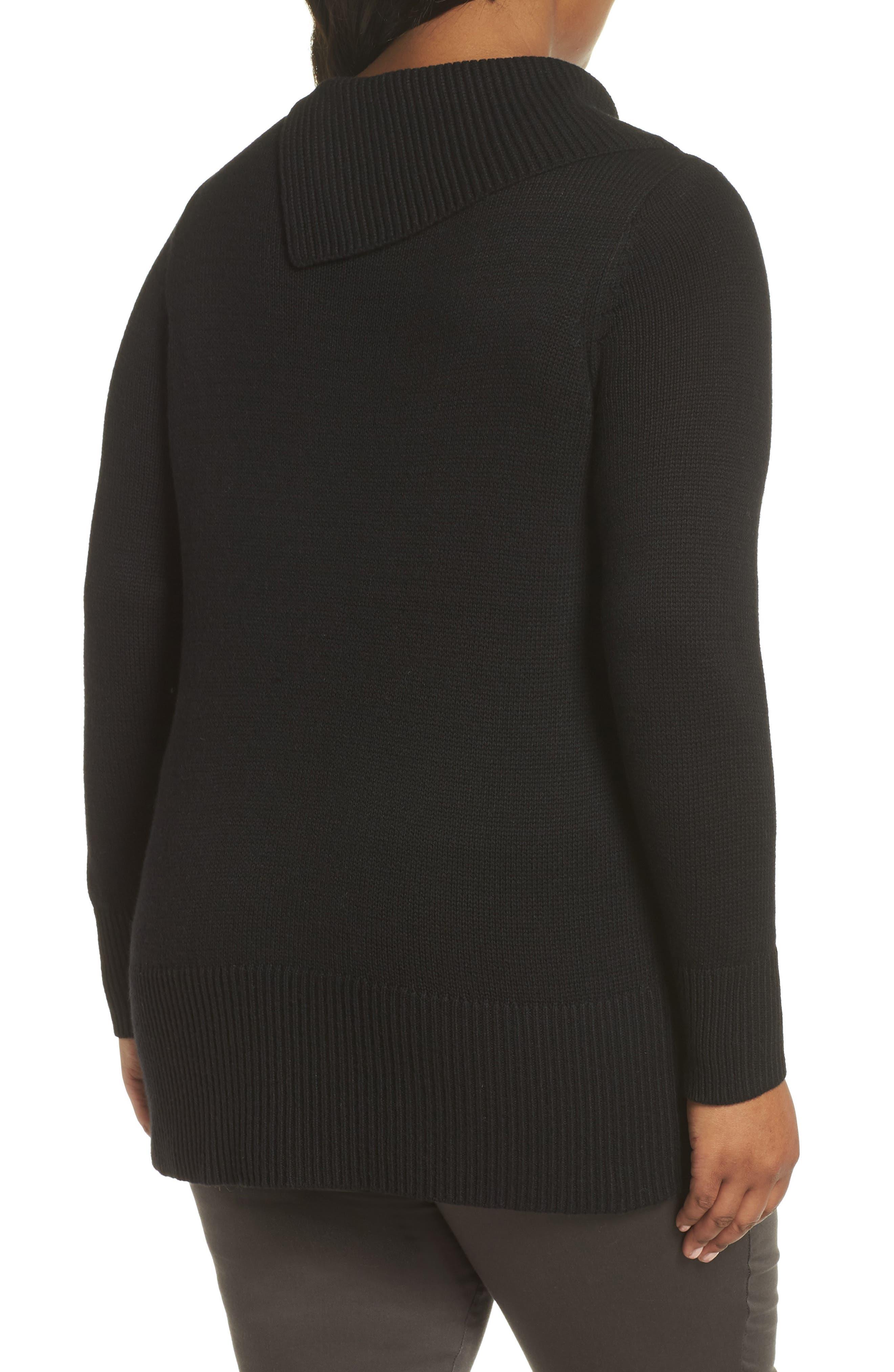 Split Neck Sweater,                             Alternate thumbnail 2, color,                             BLACK