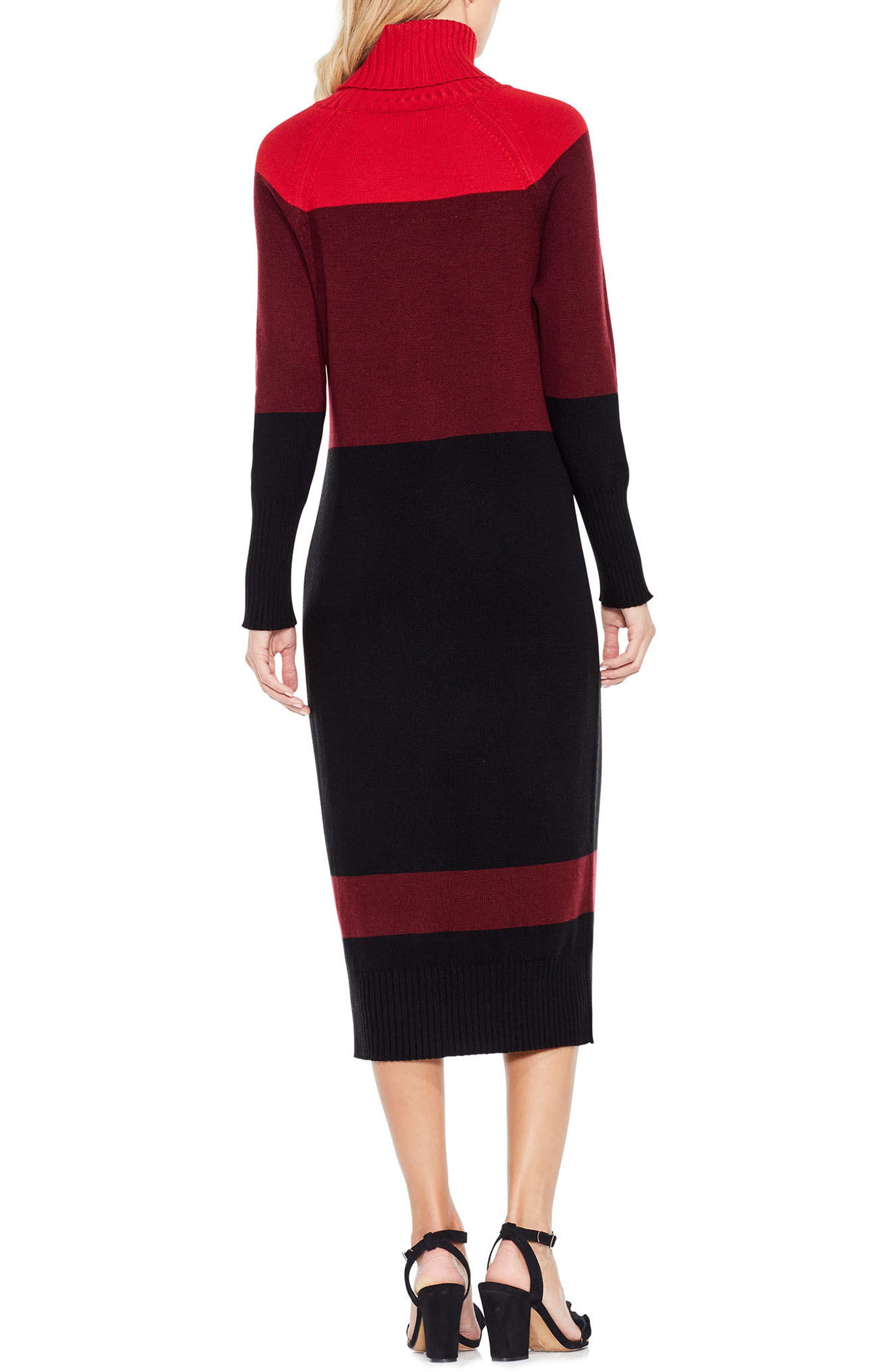 Colorblock Turtleneck Sweater Dress,                             Alternate thumbnail 4, color,