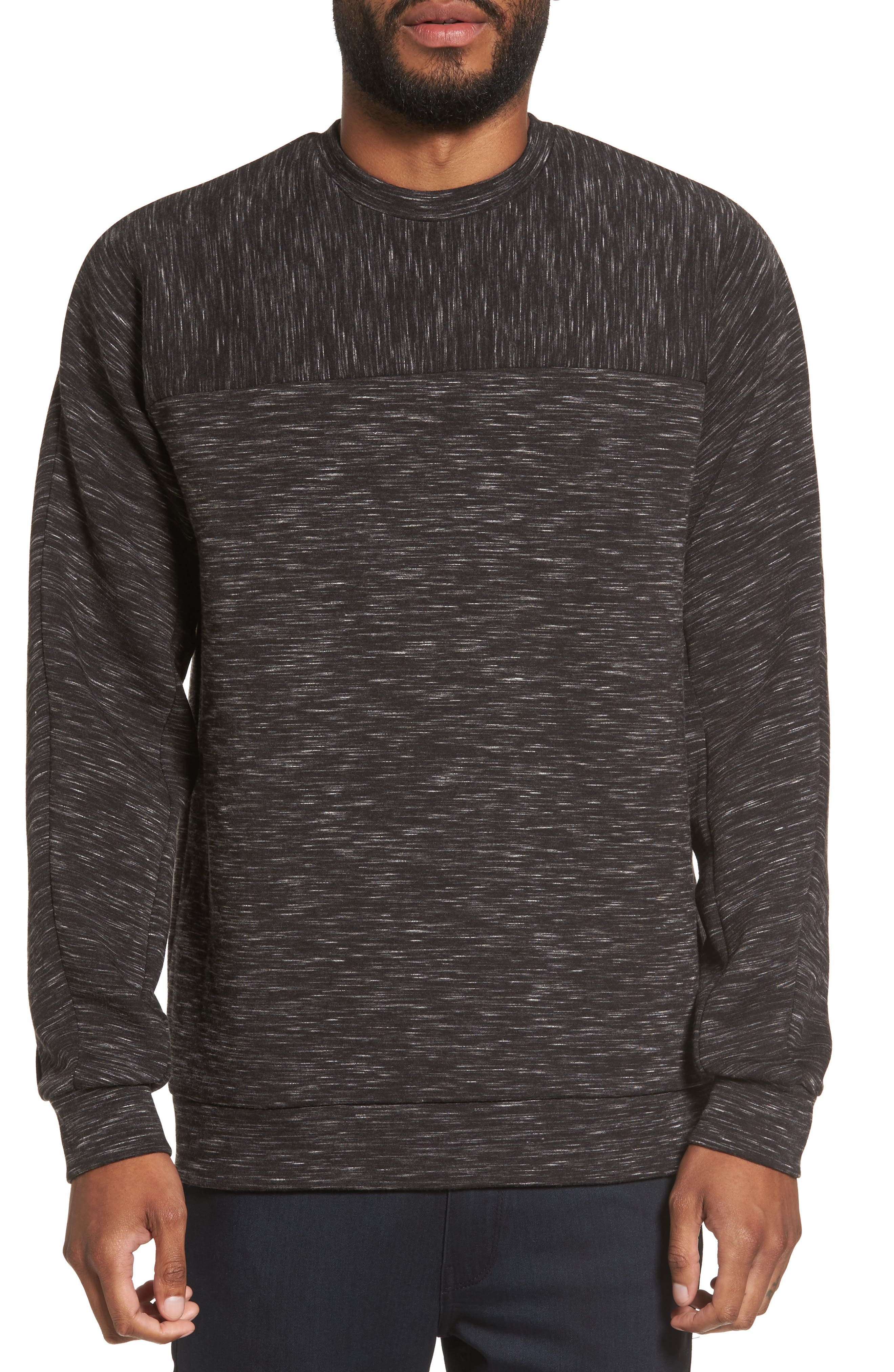Side Zip Crewneck Sweatshirt,                         Main,                         color, 001
