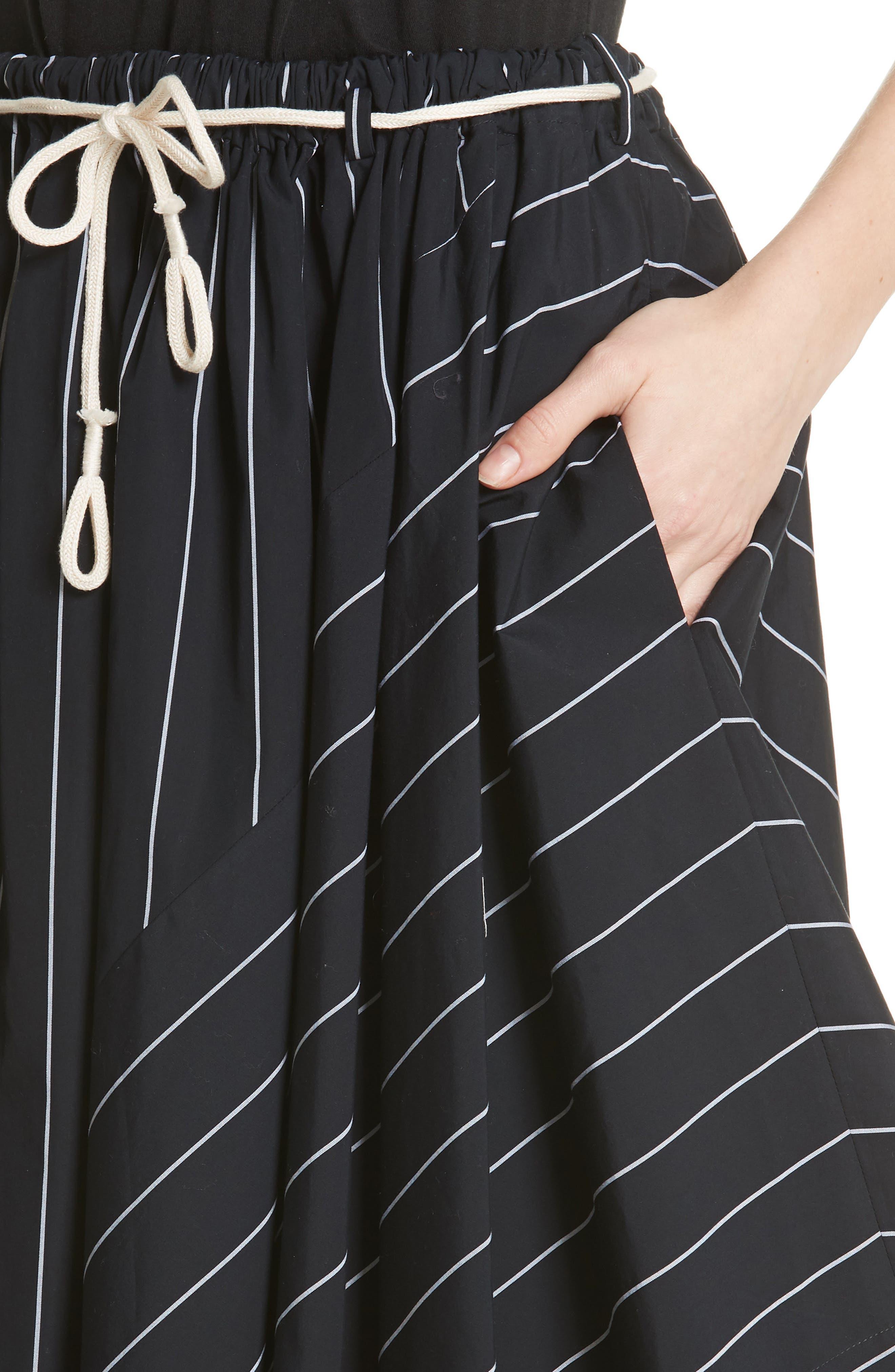 Skinny Stripe Asymmetrical Cotton Skirt,                             Alternate thumbnail 4, color,                             435