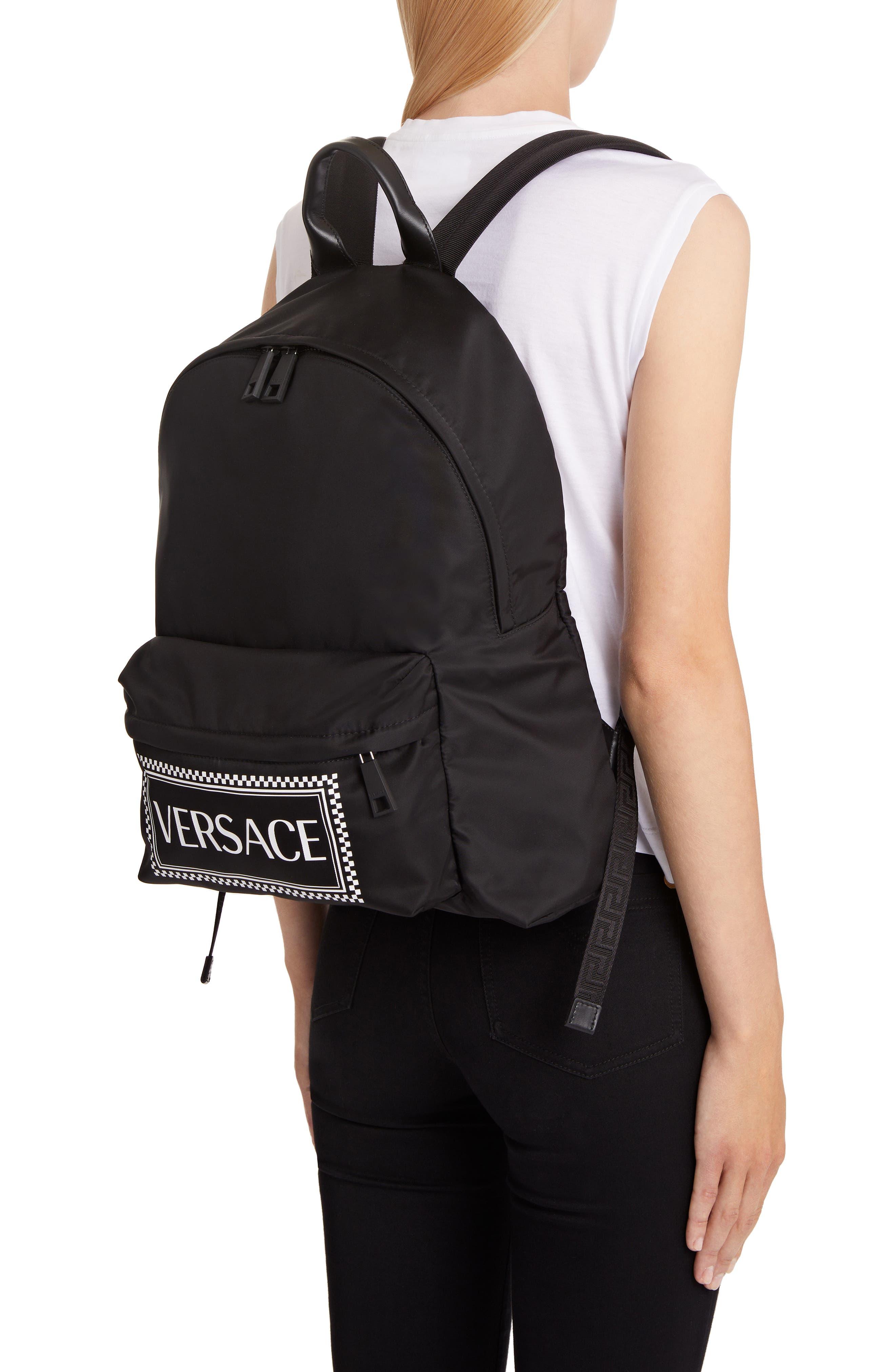 Logo Nylon Backpack,                             Alternate thumbnail 2, color,                             BLACK/ WHITE