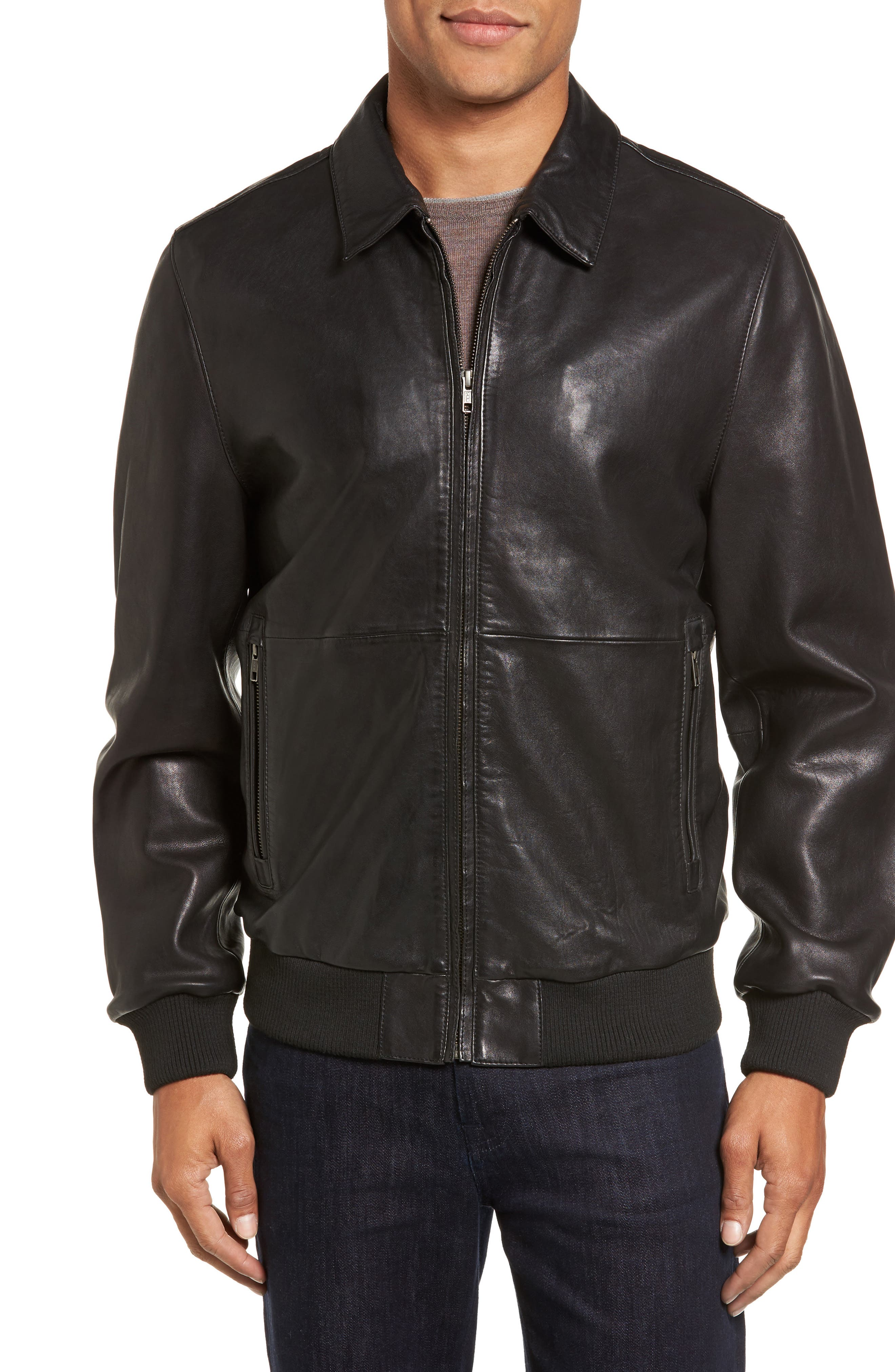 Leather Bomber Jacket,                             Main thumbnail 1, color,                             001