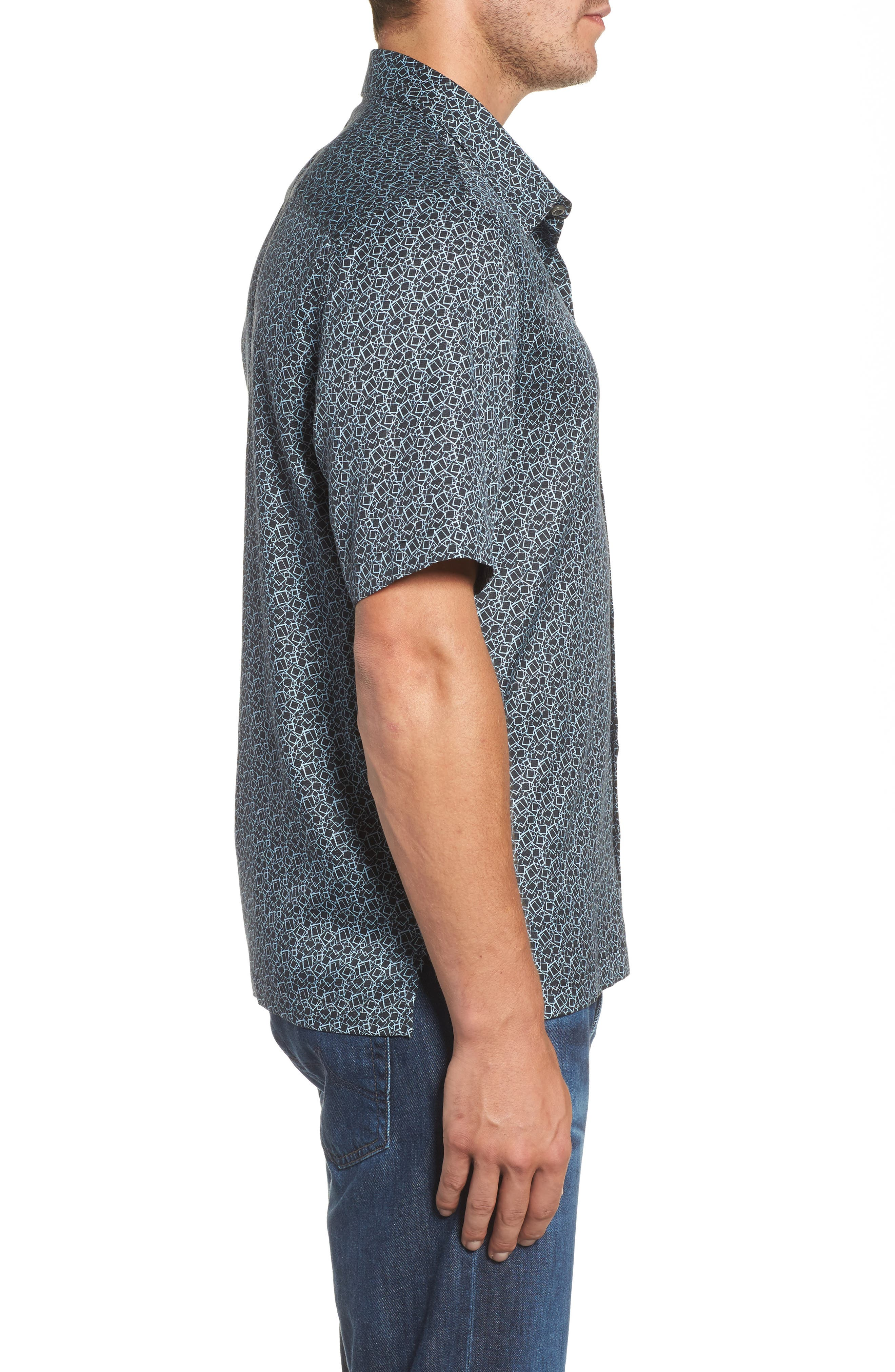 Blizzard Classic Fit Silk Blend Sport Shirt,                             Alternate thumbnail 3, color,                             001