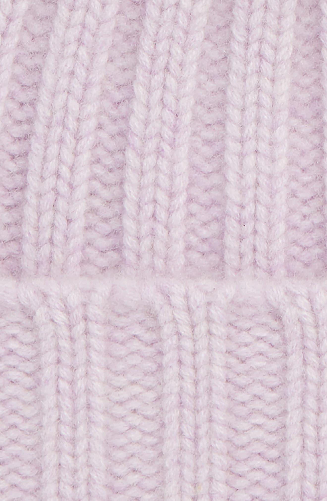 x Atlantic-Pacific Cashmere Beanie with Faux Fur Pom,                             Alternate thumbnail 3, color,                             PURPLE SECRET