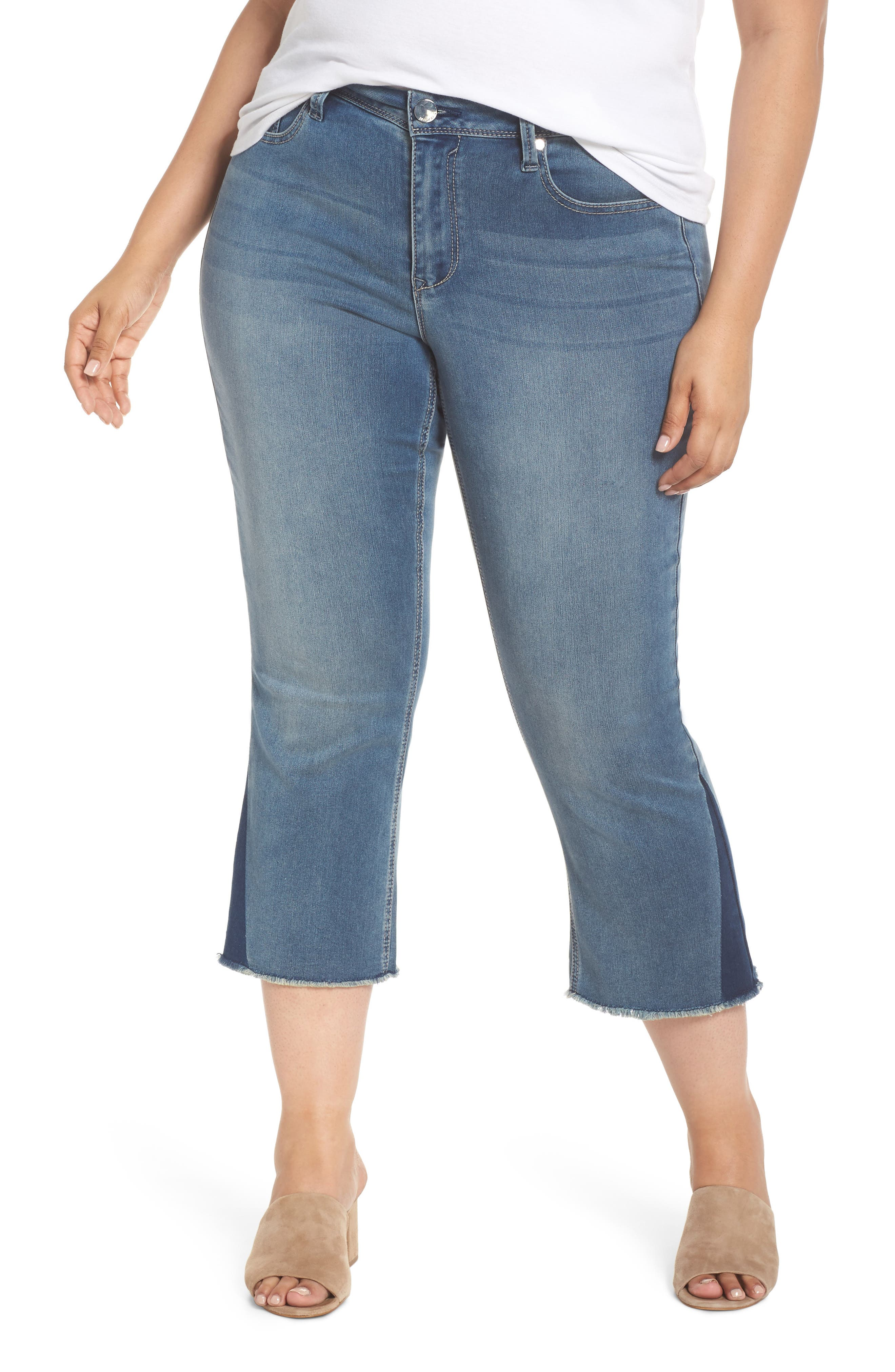 Shadow Godet Ankle Duster Jeans,                             Main thumbnail 1, color,                             LEVINE