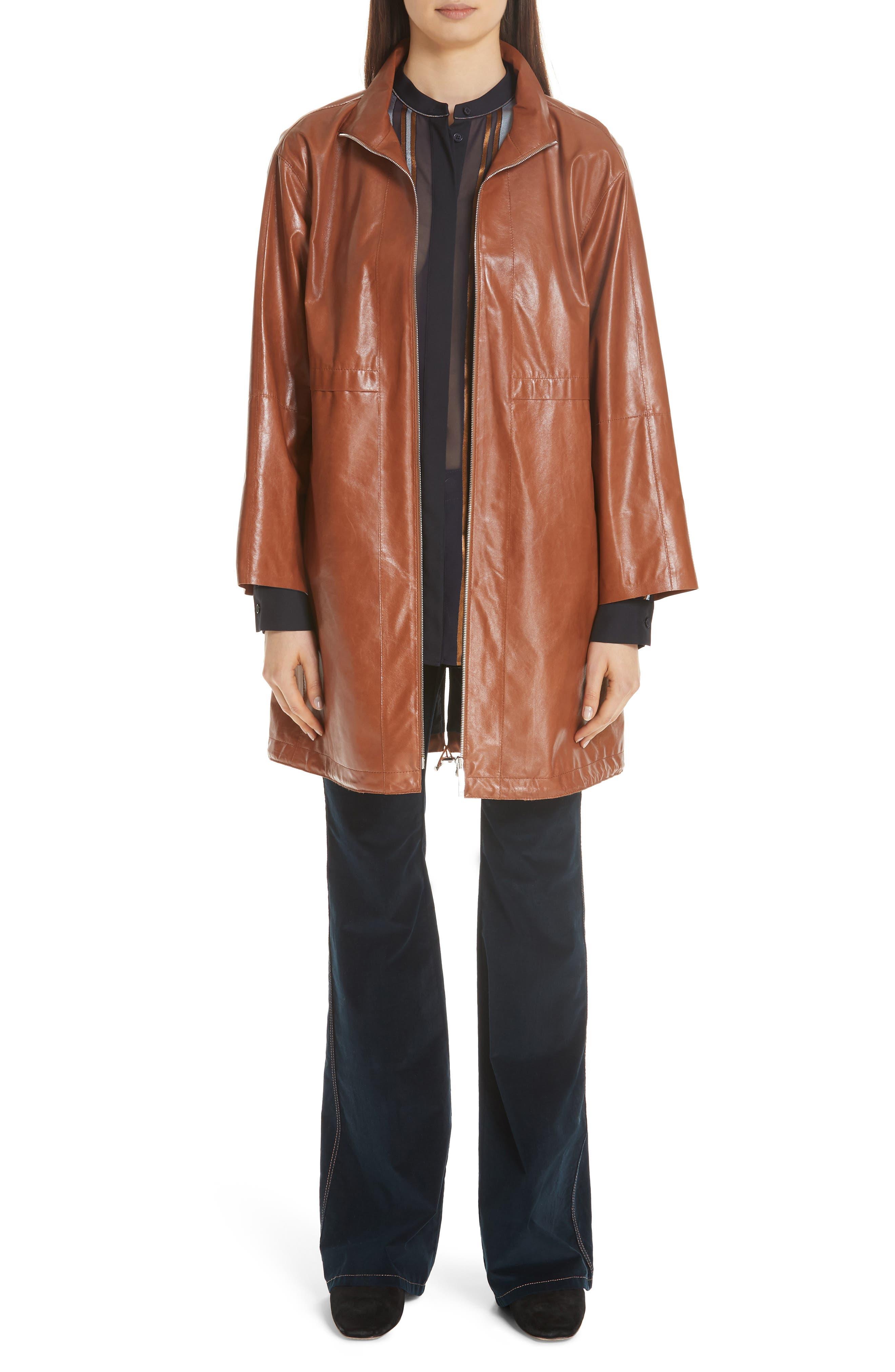 Minerva Leather Jacket,                             Alternate thumbnail 8, color,                             OCHRE