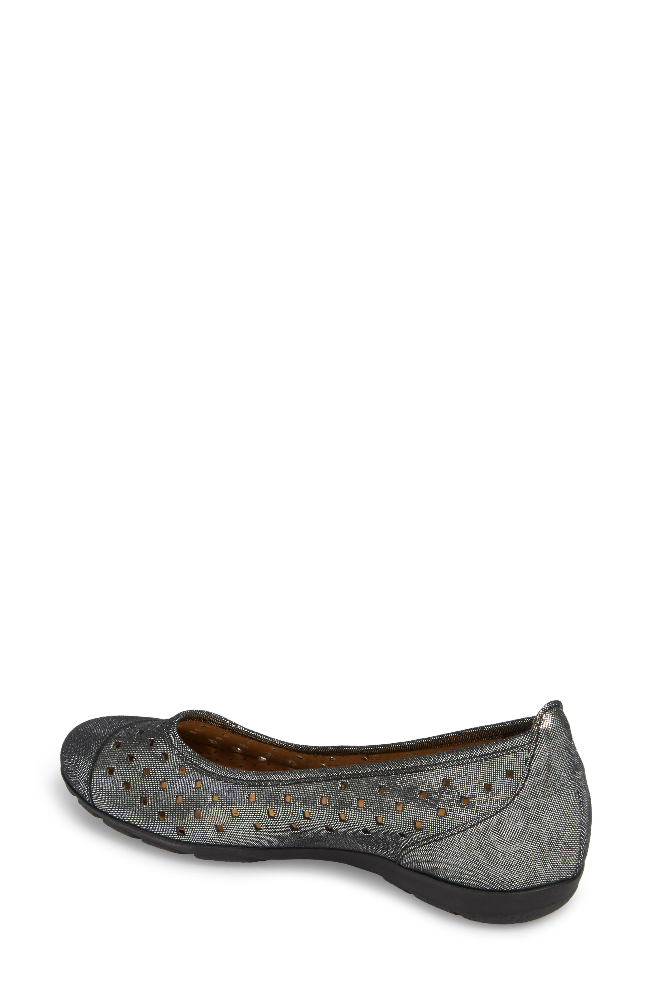 Perforated Ballet Flat,                             Alternate thumbnail 2, color,                             BLACK METALLIC LEATHER