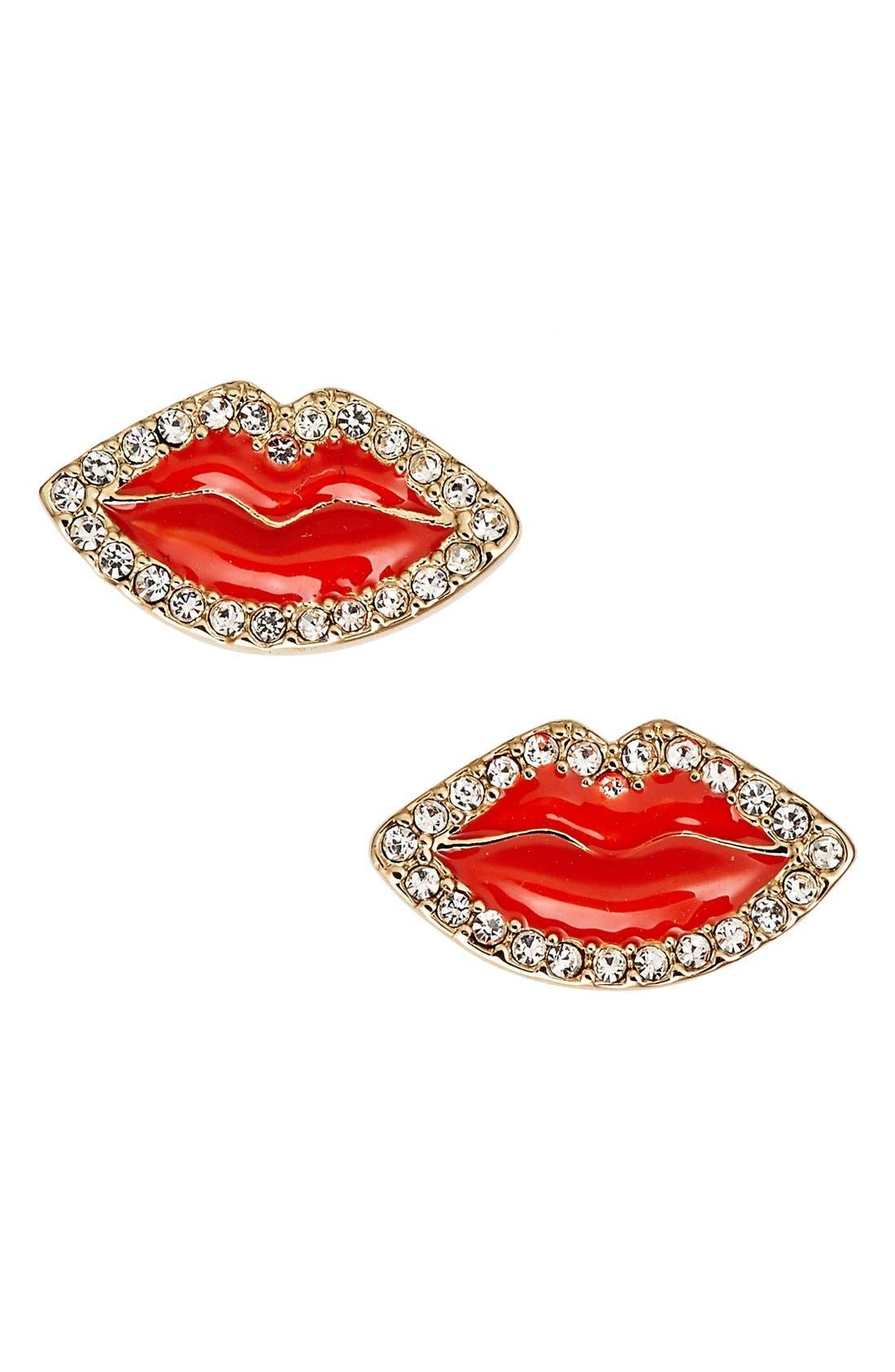 'love list' lip stud earrings,                             Main thumbnail 1, color,                             600