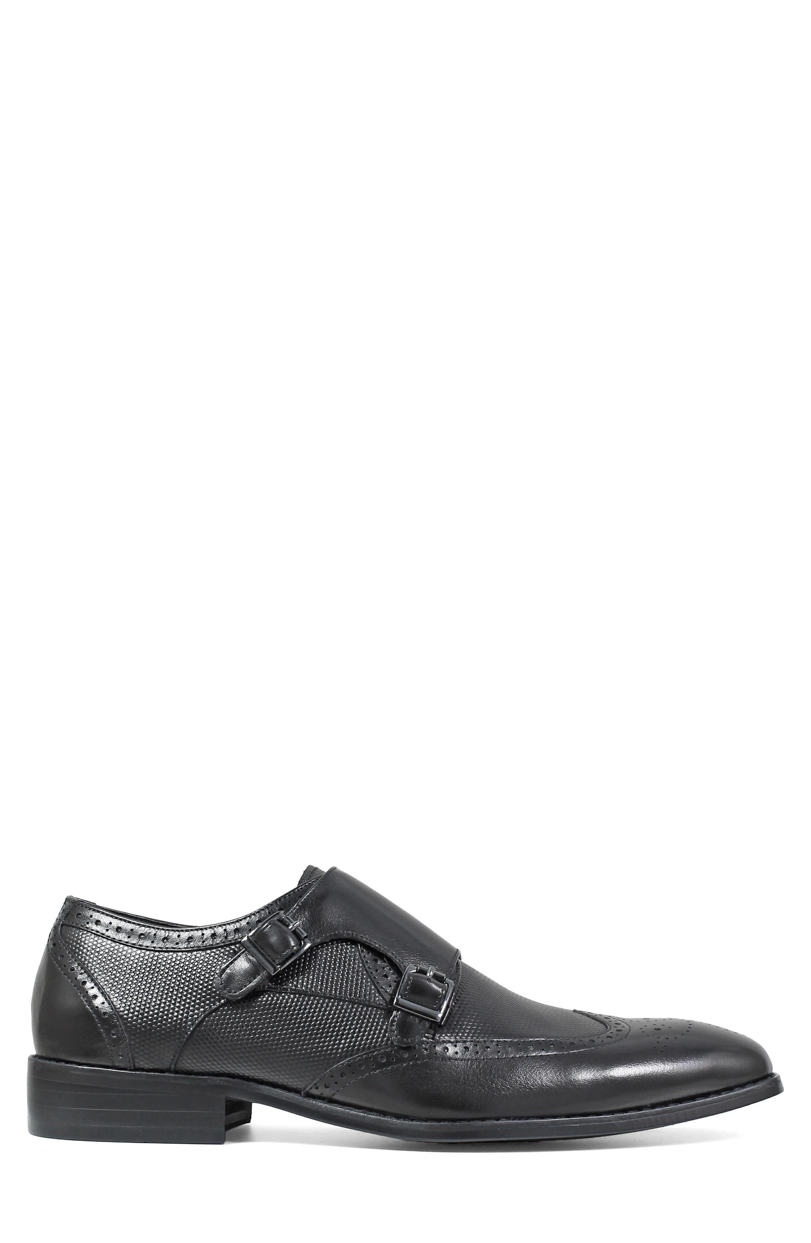 Lavine Wingtip Monk Shoe,                             Alternate thumbnail 3, color,                             BLACK LEATHER