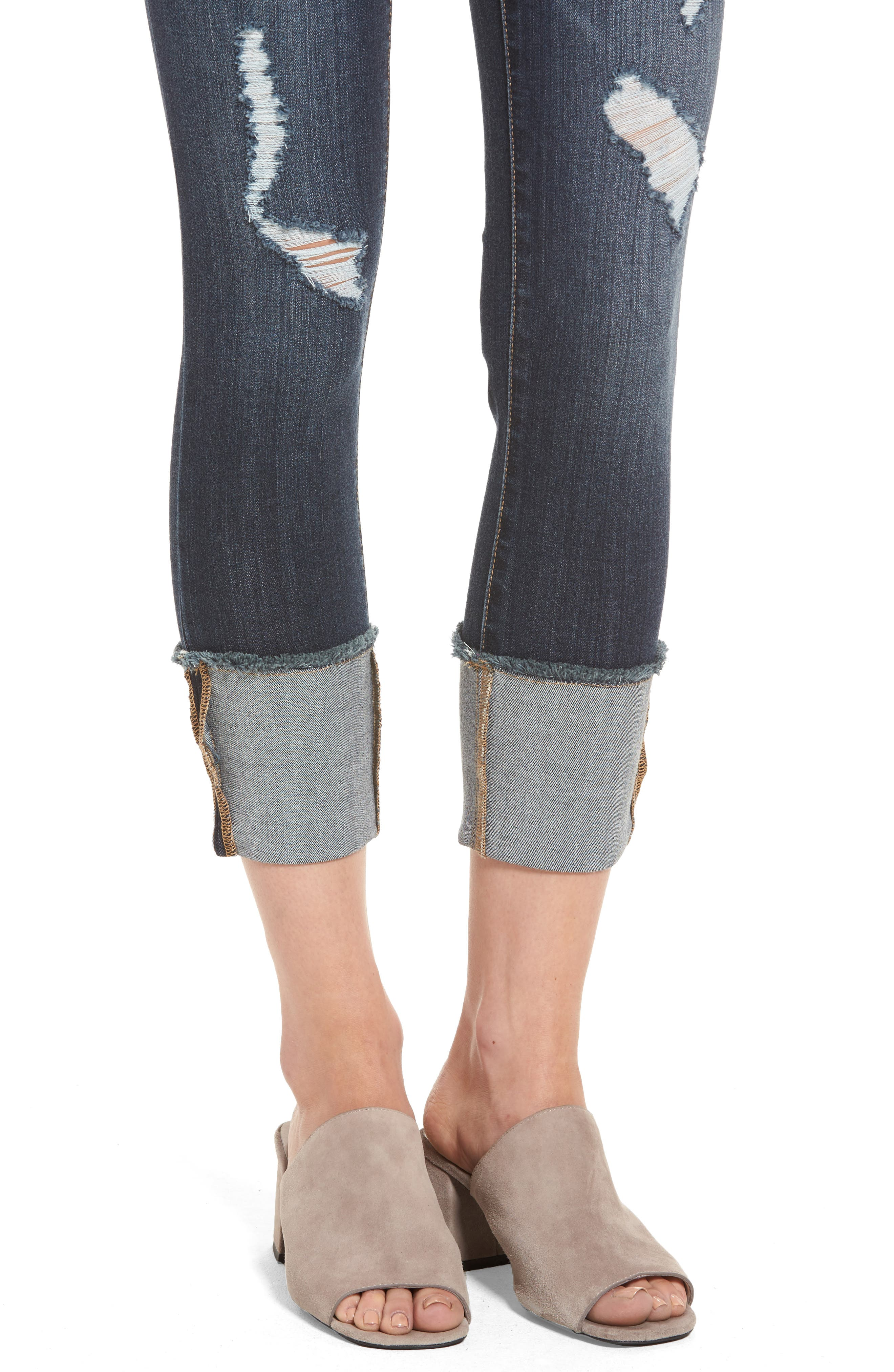 Distressed Roll Cuff Jeans,                             Alternate thumbnail 4, color,                             HAZEL