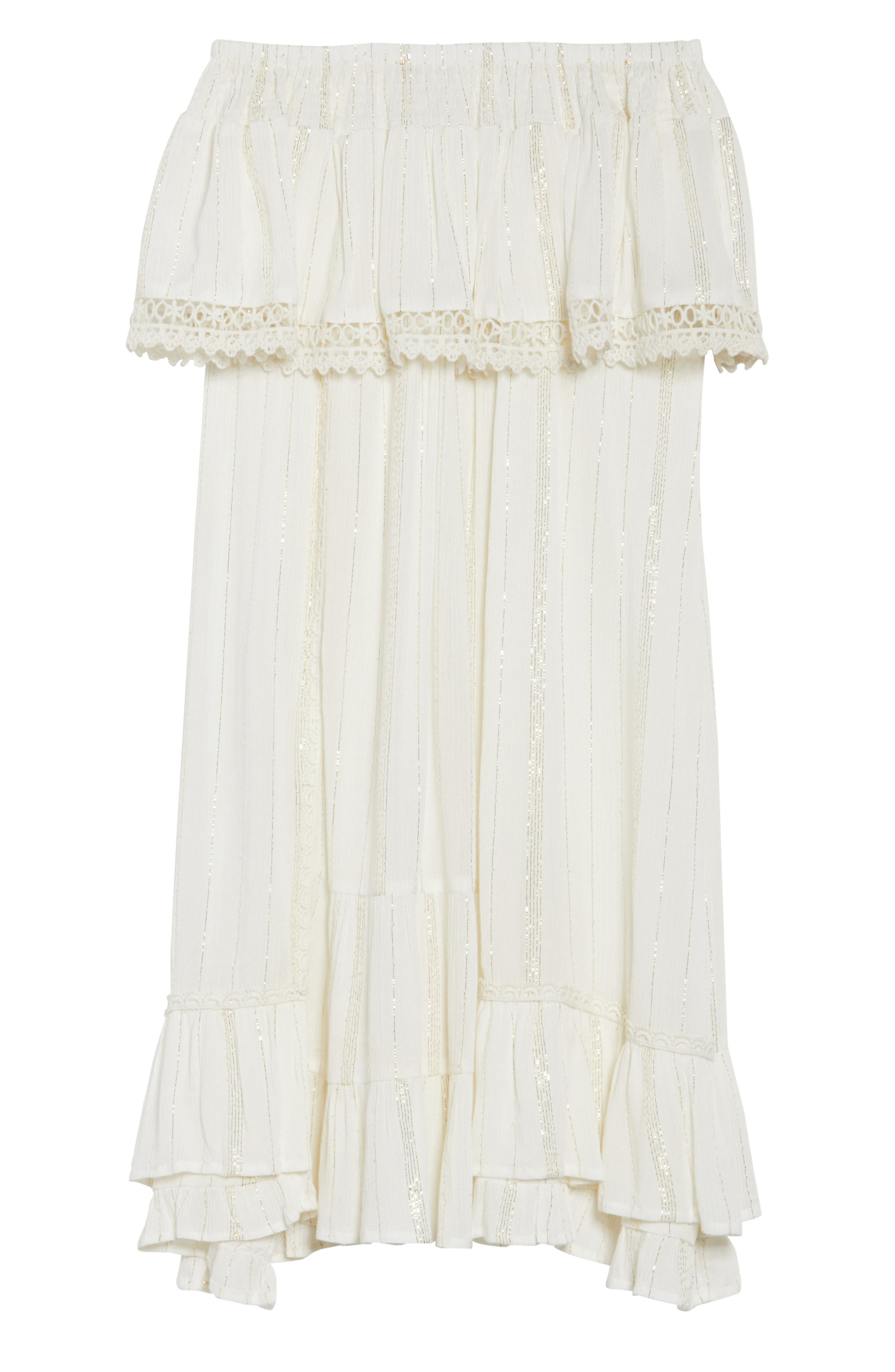 Iris Ruffle Cover-Up Dress,                             Alternate thumbnail 6, color,                             100