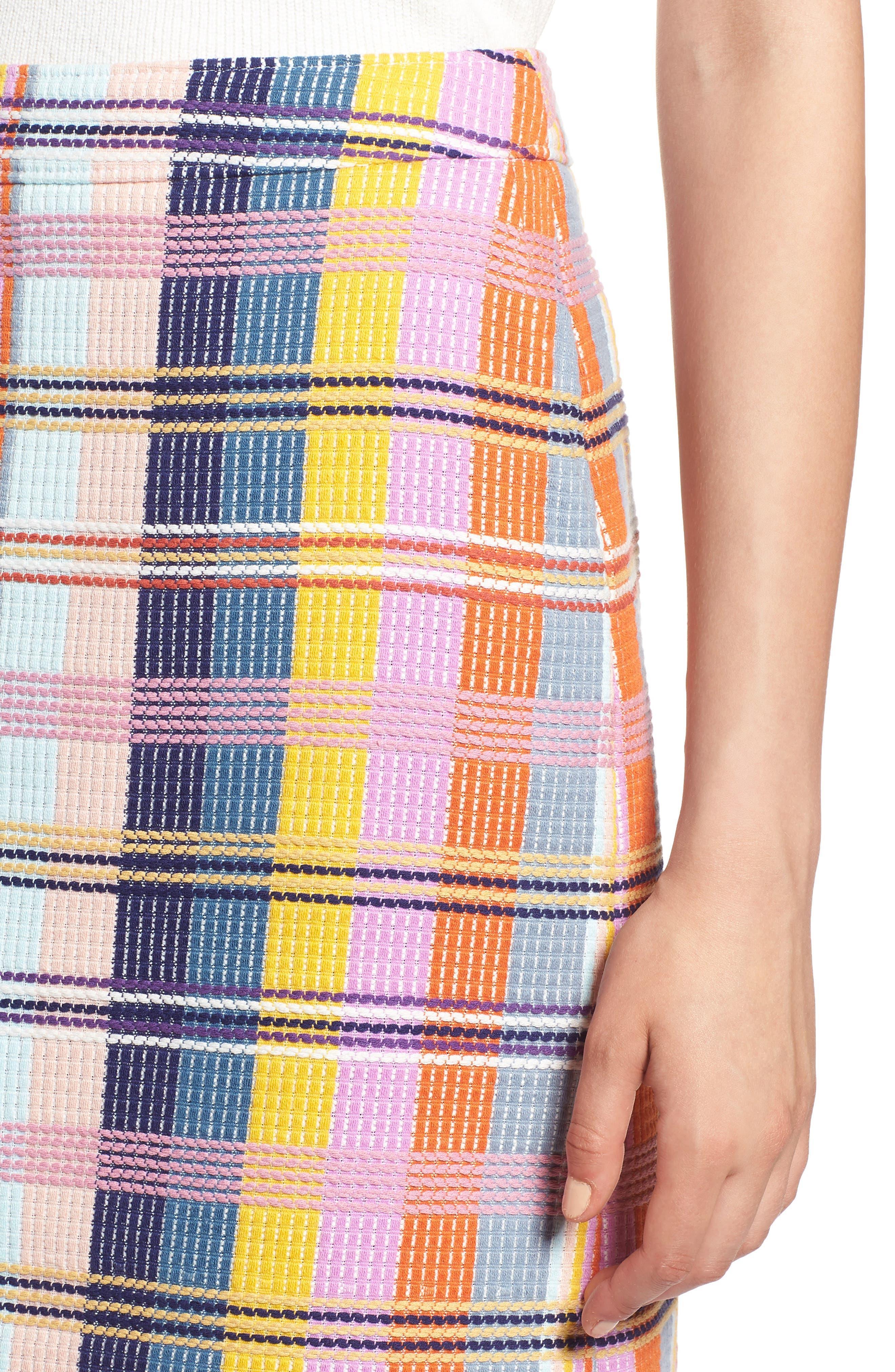 Plaid Tweed Pencil Skirt,                             Alternate thumbnail 4, color,                             BLUE MULTI TWEED