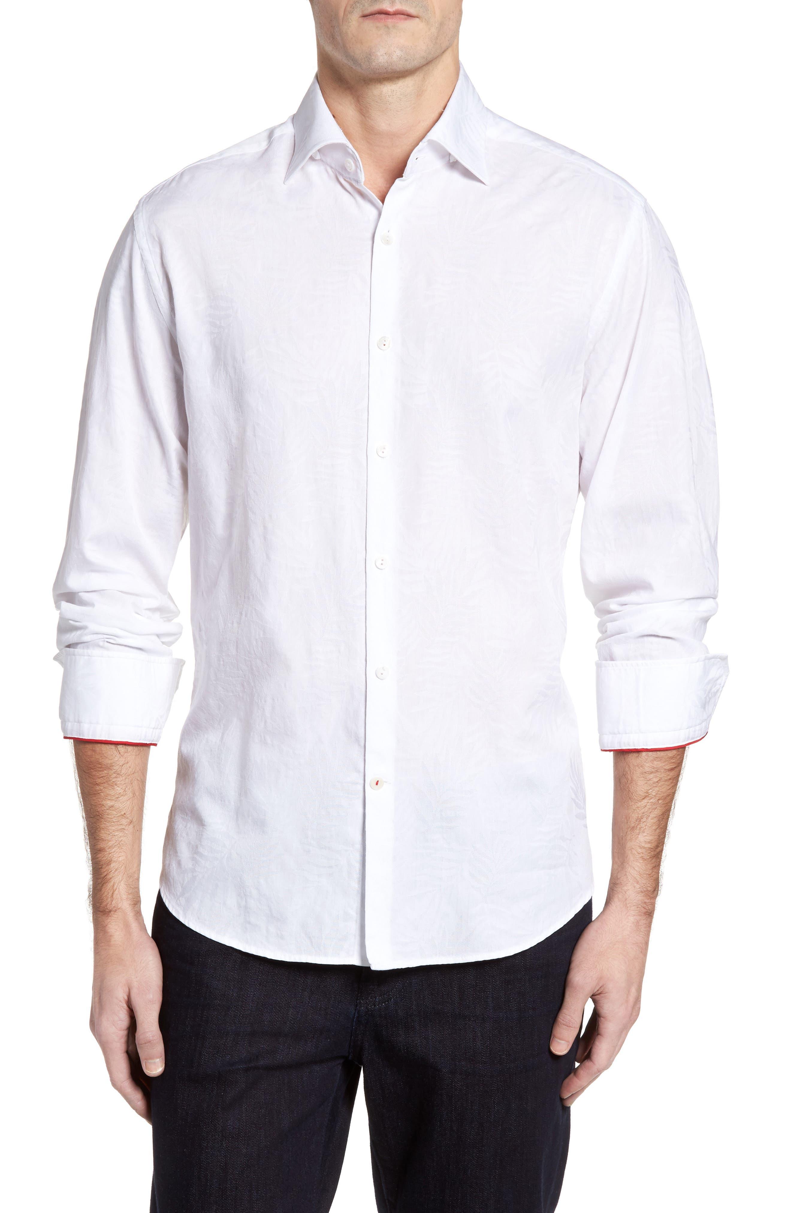 Slim Fit Tonal Leaf Jacquard Sport Shirt,                         Main,                         color, 100