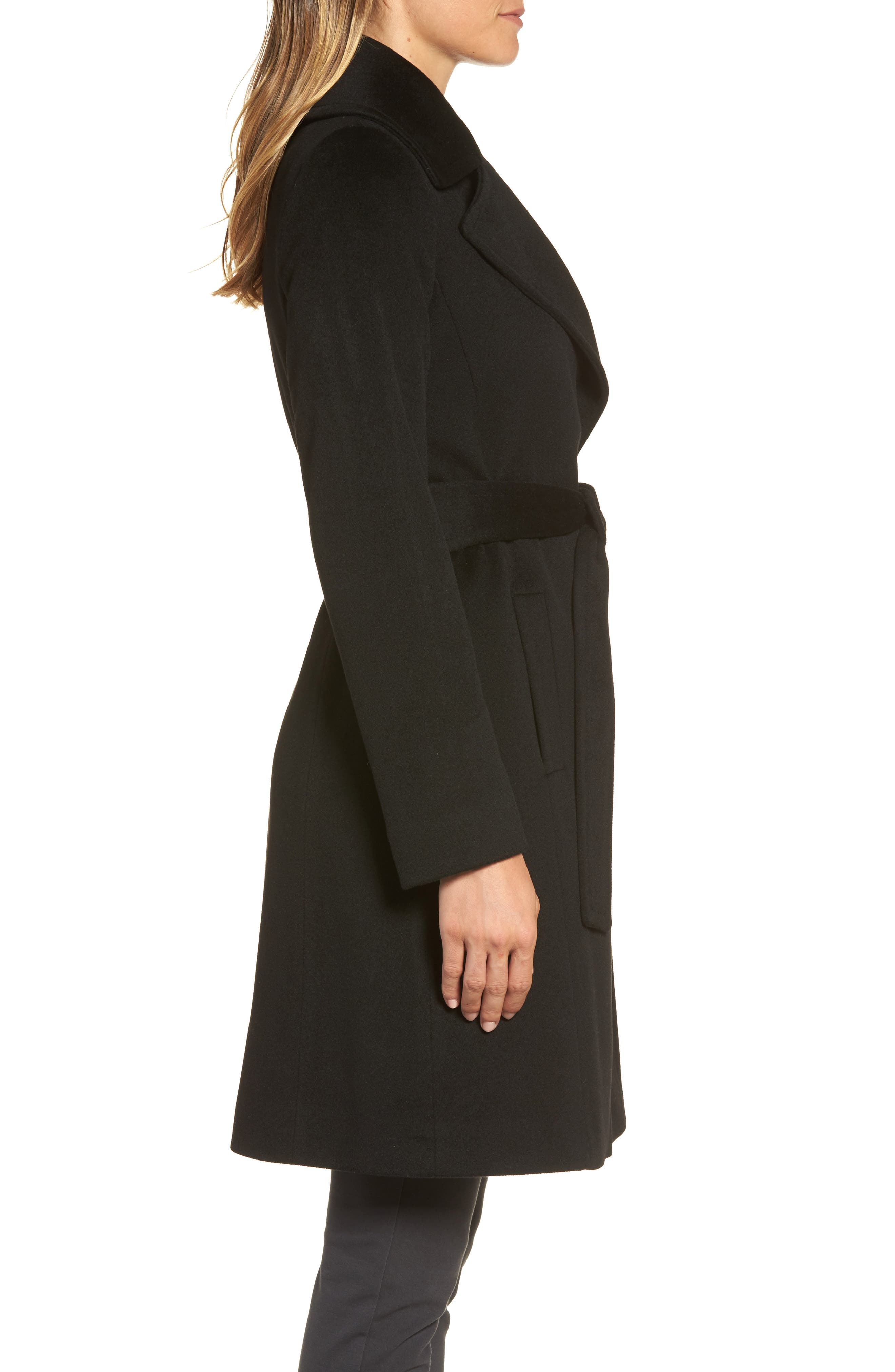 Wool Wrap Coat,                             Alternate thumbnail 3, color,                             001