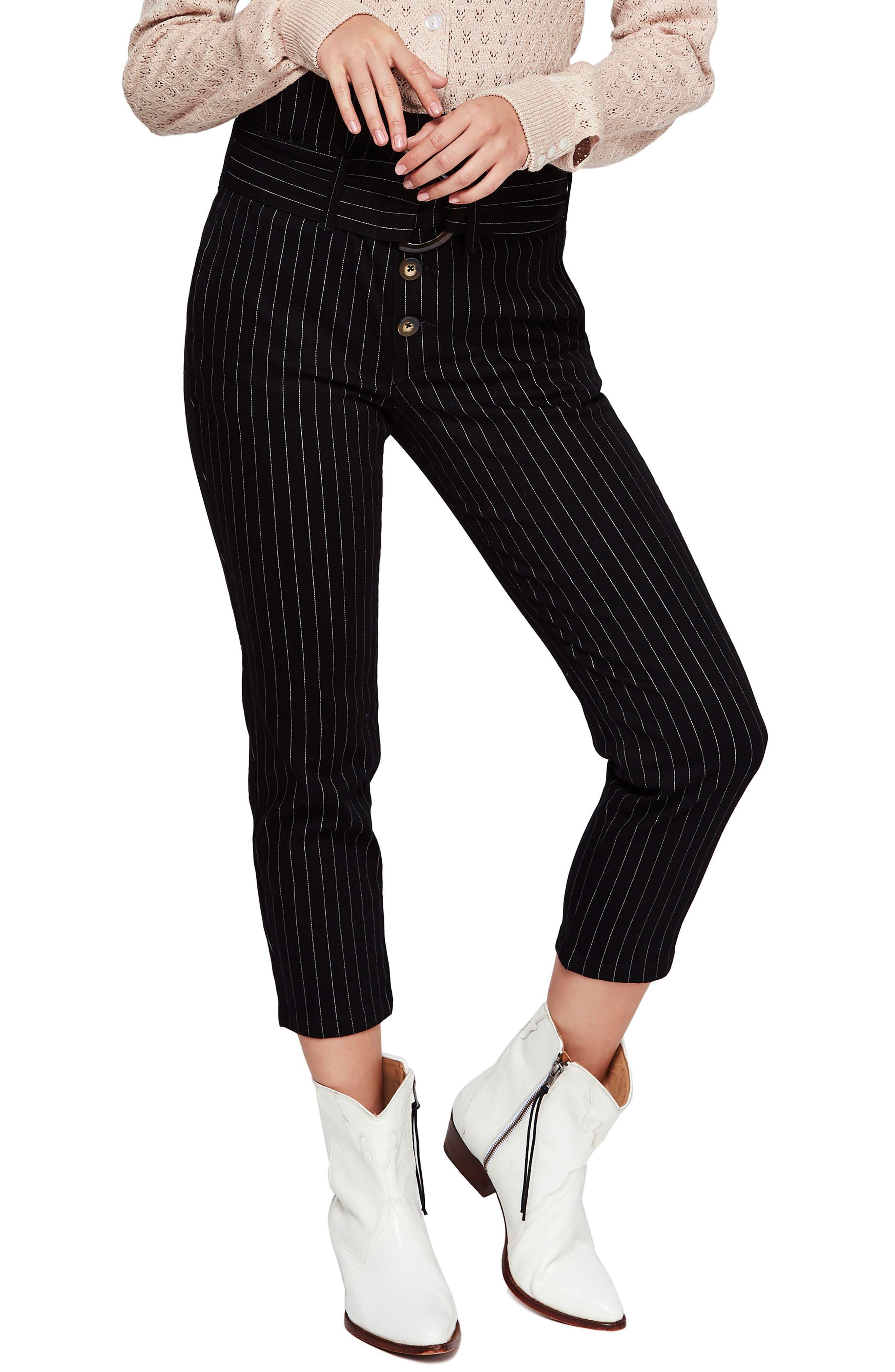 Montella Pinstripe Crop Skinny Pants, Main, color, BLACK