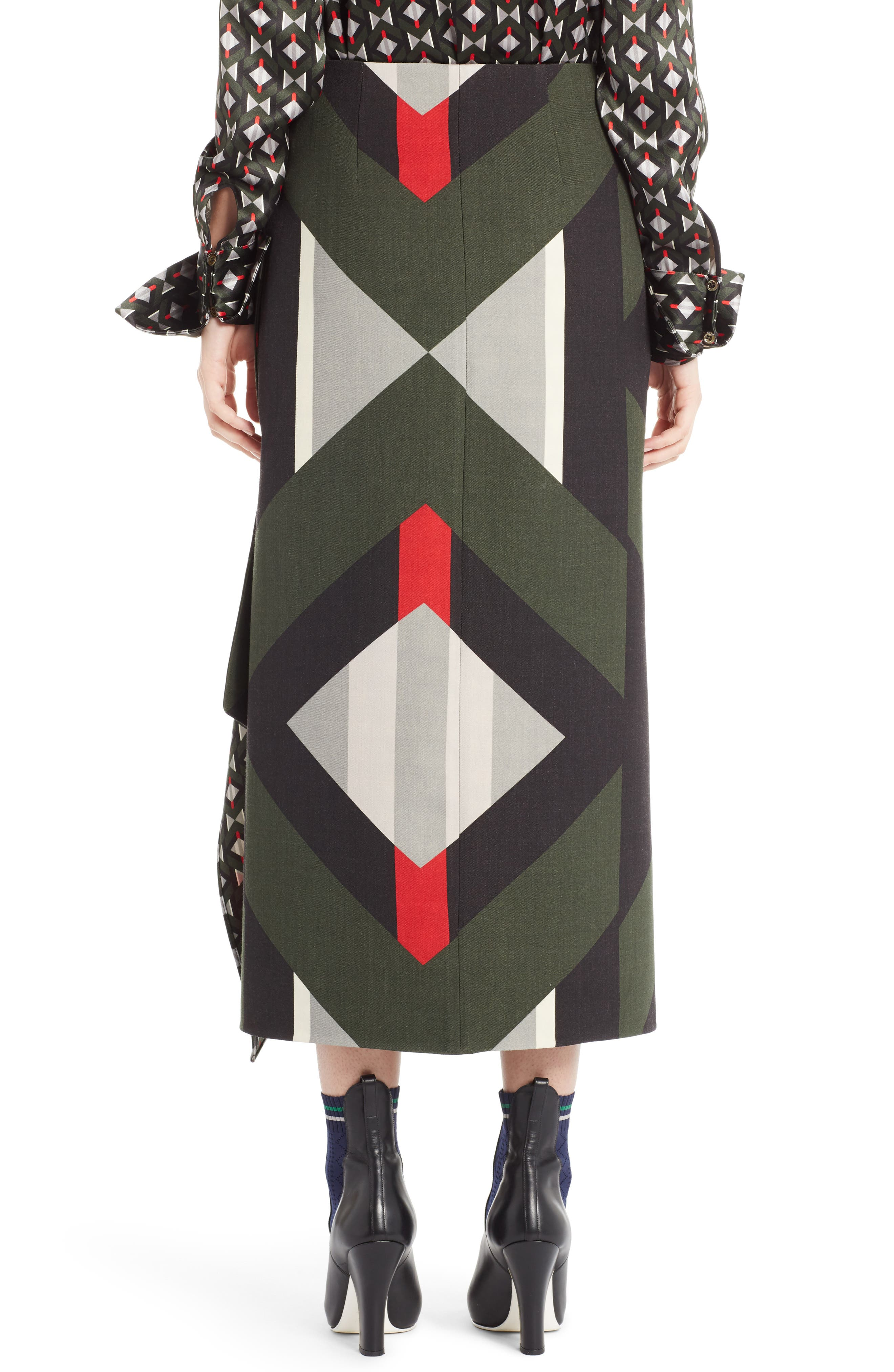 Lozenge Print Wrap Skirt,                             Alternate thumbnail 2, color,