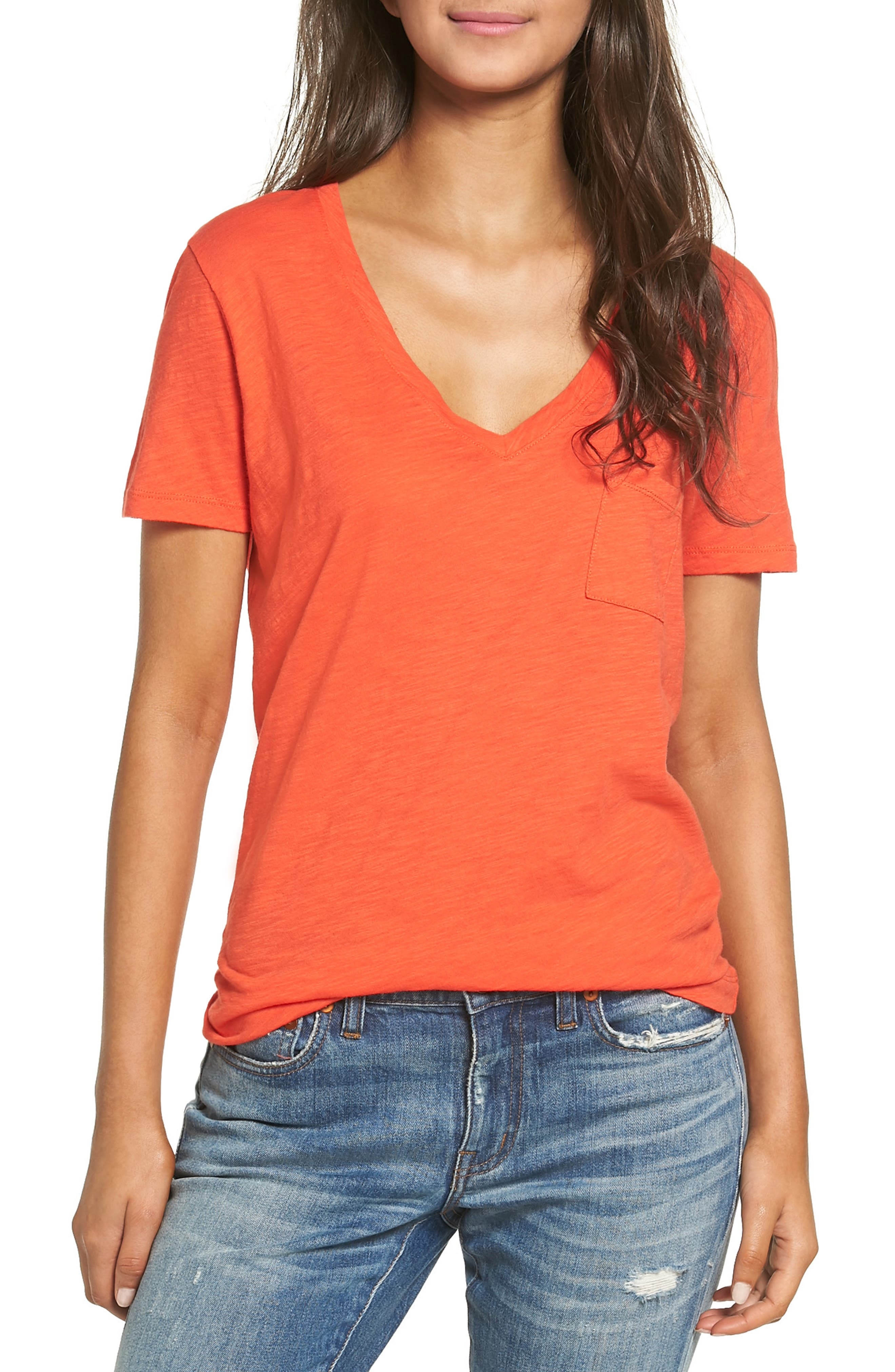 Whisper Cotton V-Neck Pocket Tee,                             Main thumbnail 32, color,