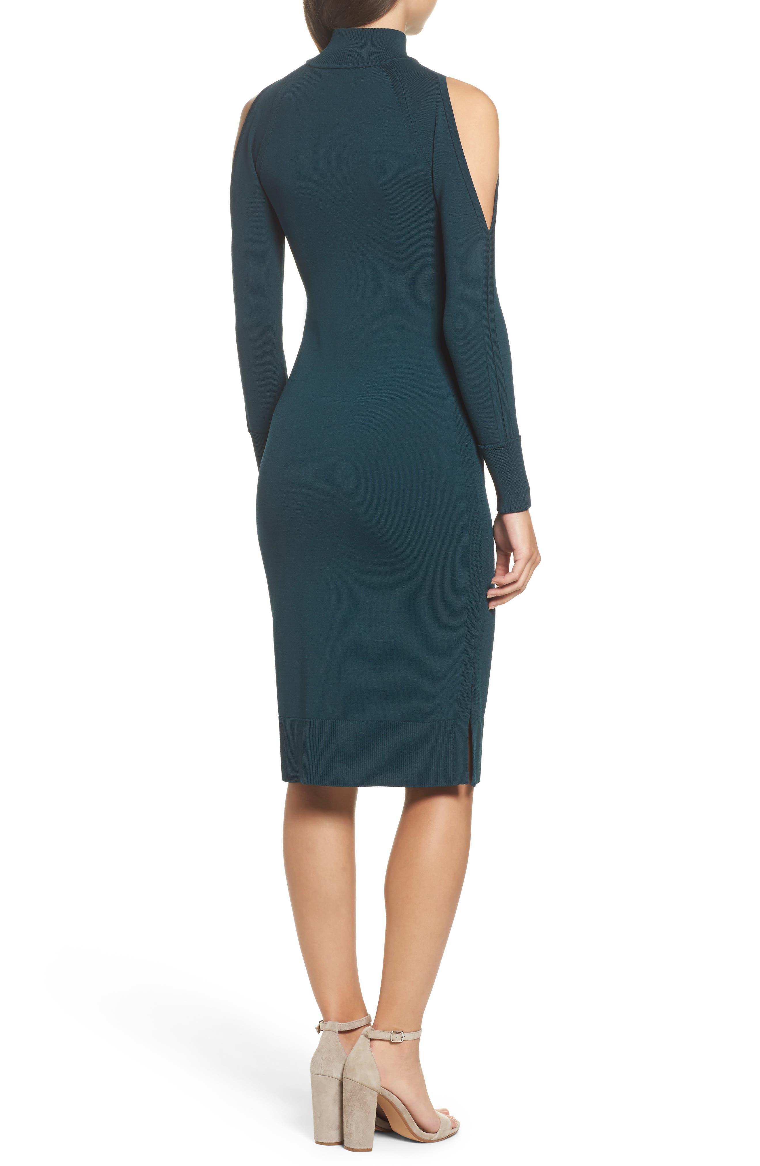 Cold Shoulder Turtleneck Dress,                             Alternate thumbnail 2, color,