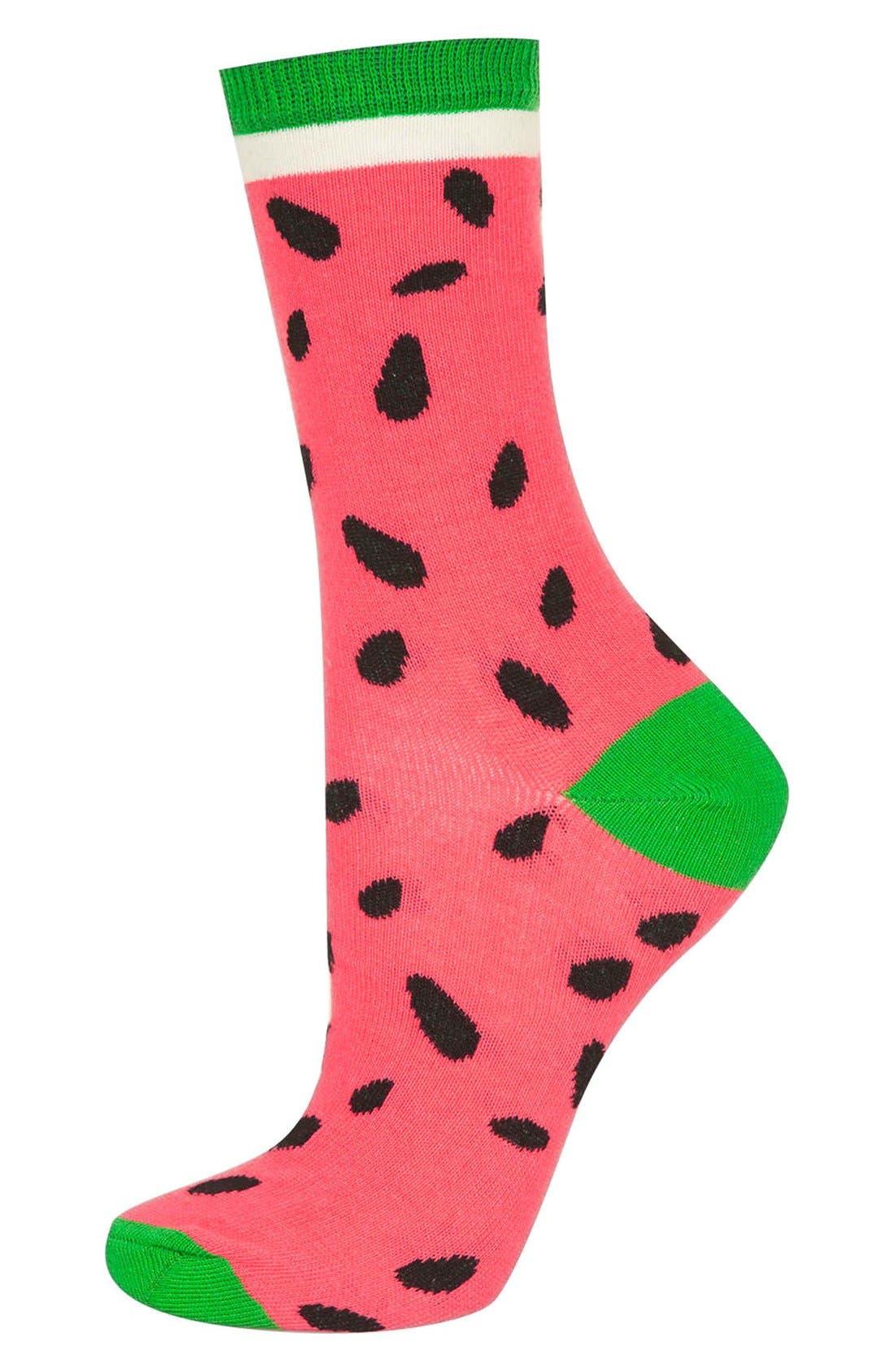 Watermelon Ankle Socks, Main, color, 950