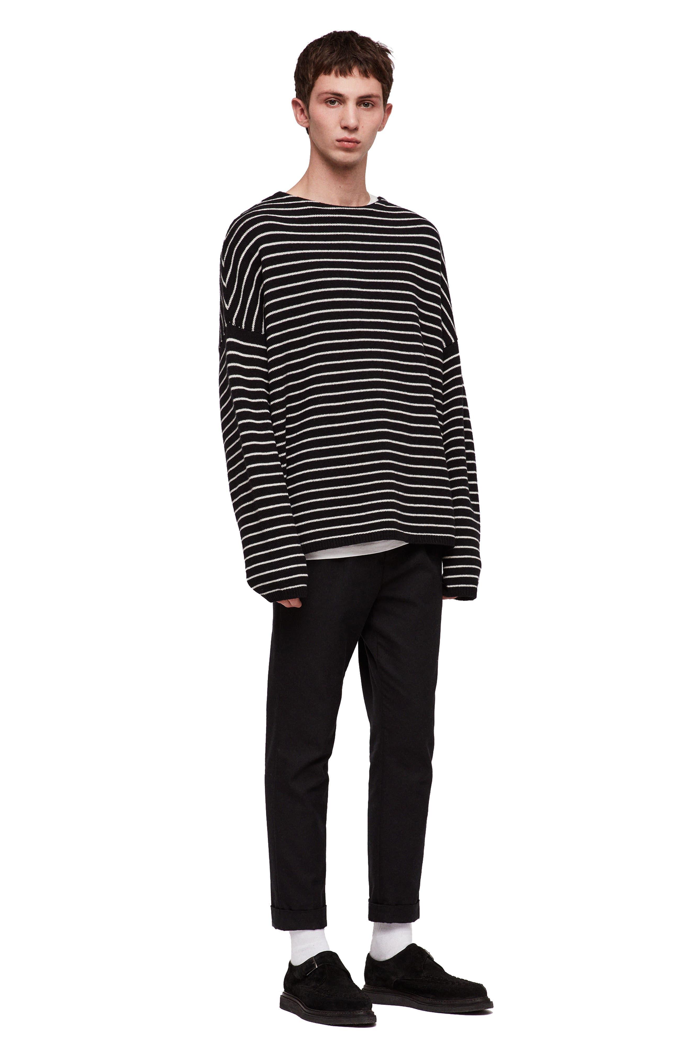 ALLSAINTS,                             Marty Stripe Crewneck Sweater,                             Alternate thumbnail 4, color,                             016