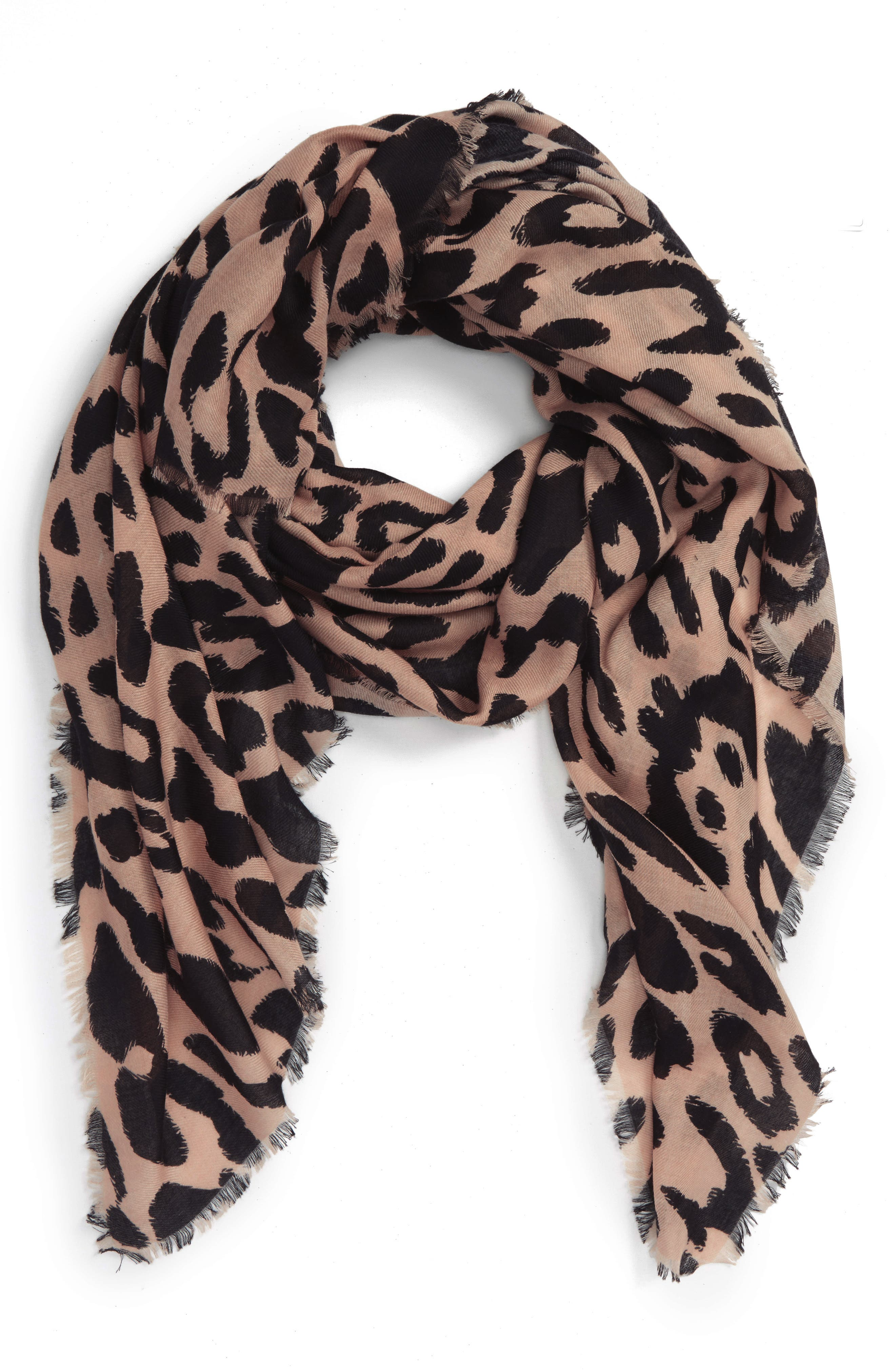 Leopard Print Scarf,                             Alternate thumbnail 2, color,                             235
