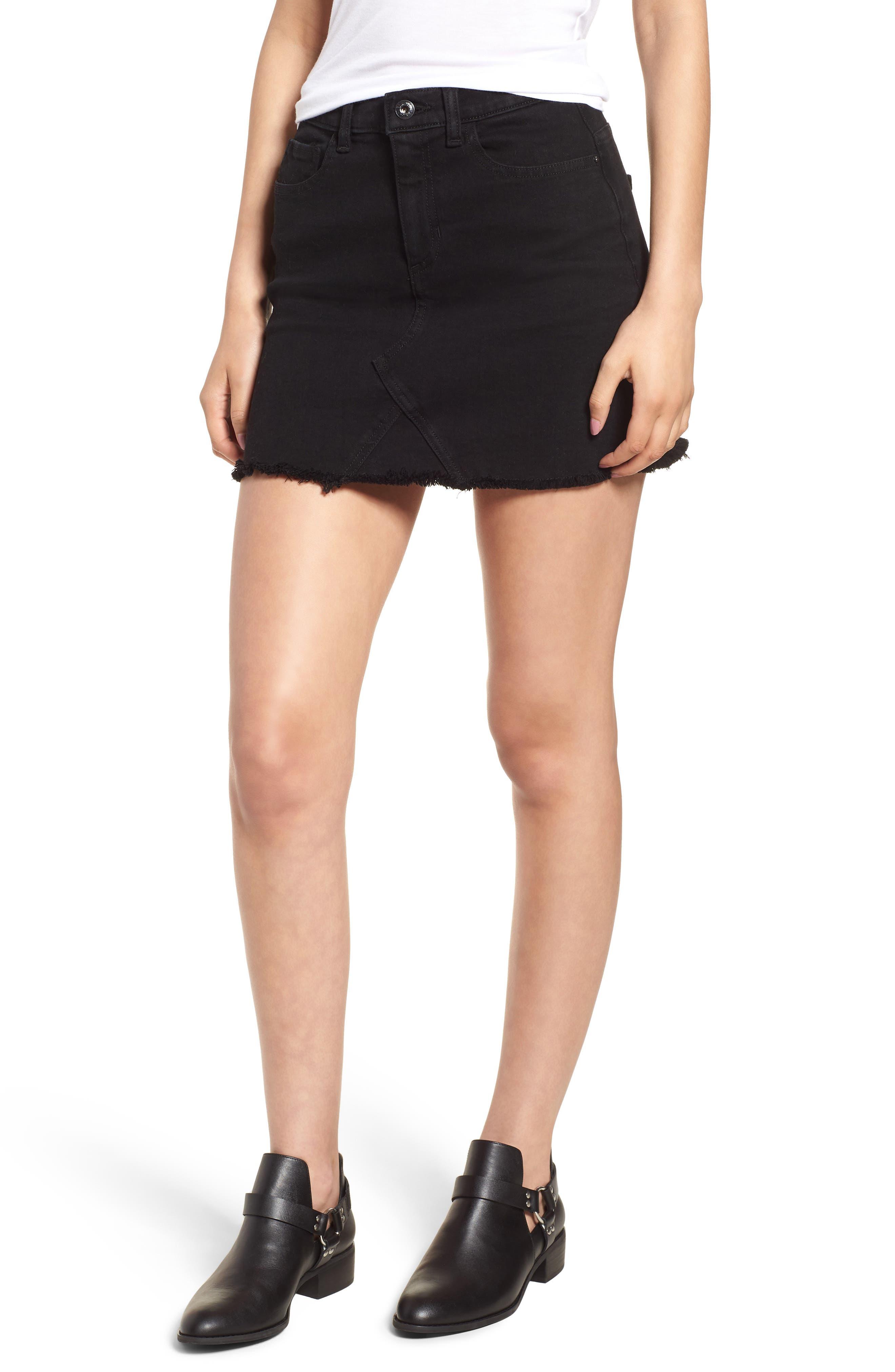 Stretch Denim Miniskirt,                             Main thumbnail 1, color,                             001