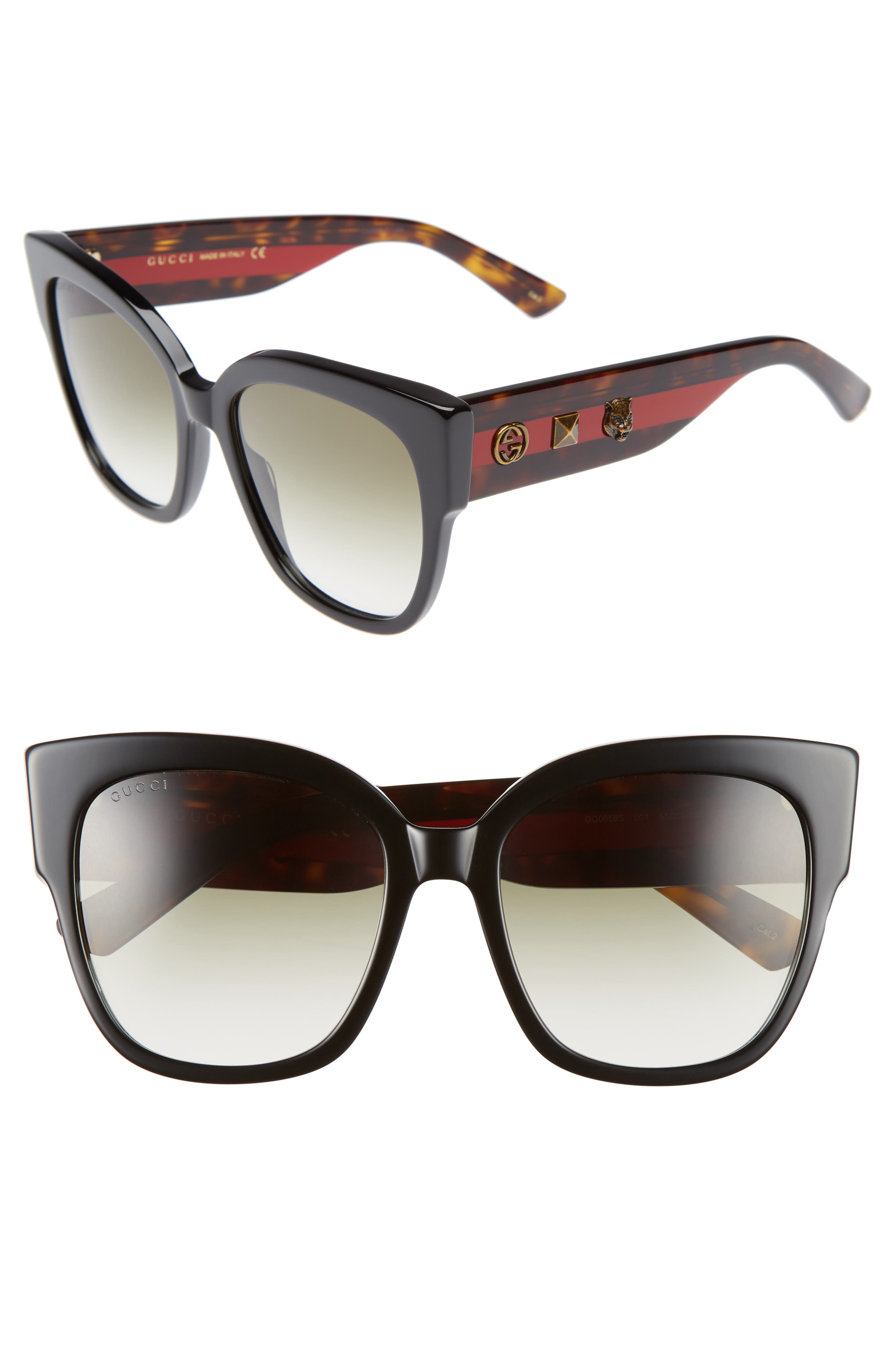 55mm Butterfly Sunglasses,                             Alternate thumbnail 2, color,                             001